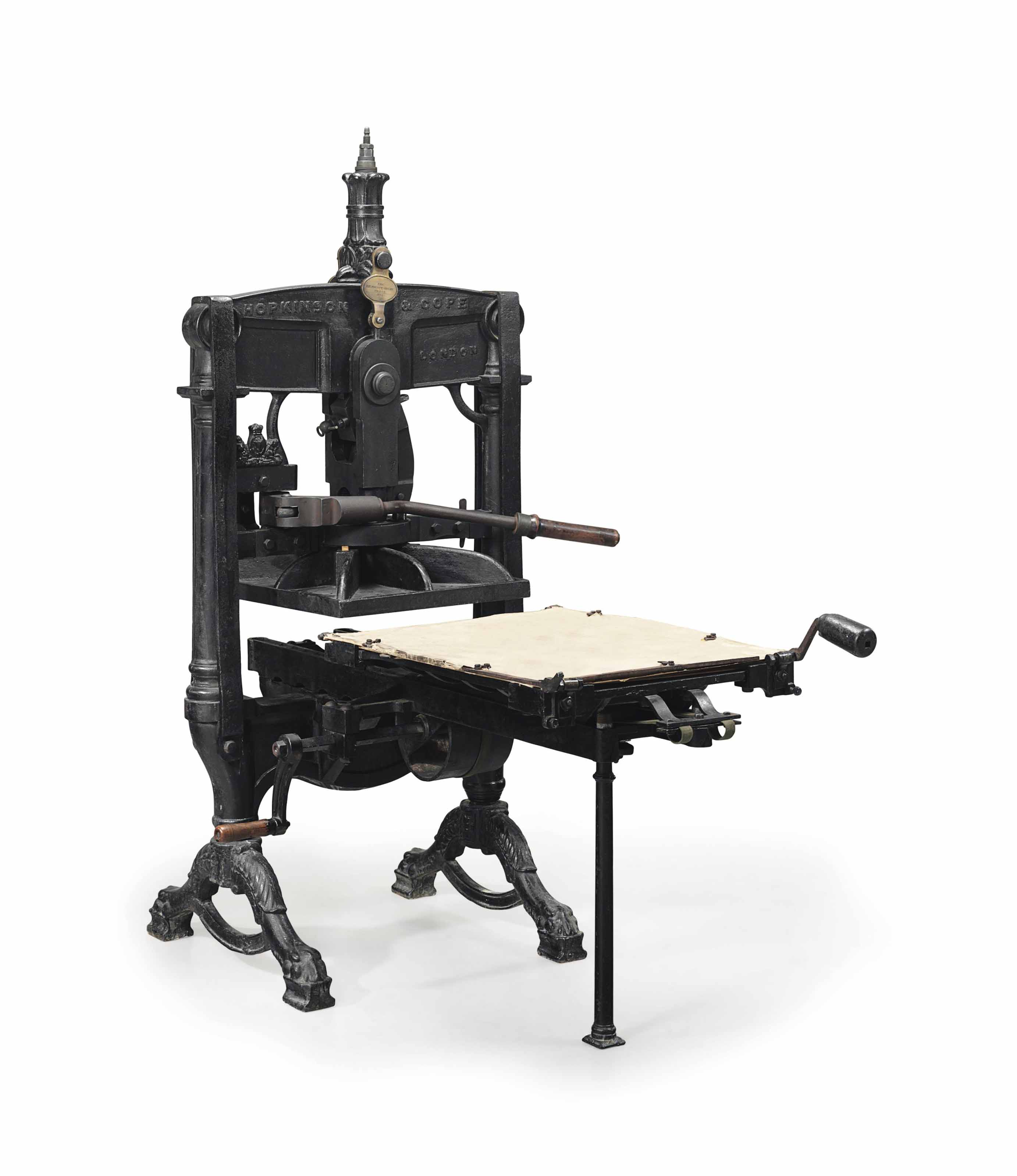 KELMSCOTT PRESS -- Floor model Albion Press No. 6551 made by Hopkinson & Cope and used by William Morris's Kelmscott Press. Manufactured in 1891.
