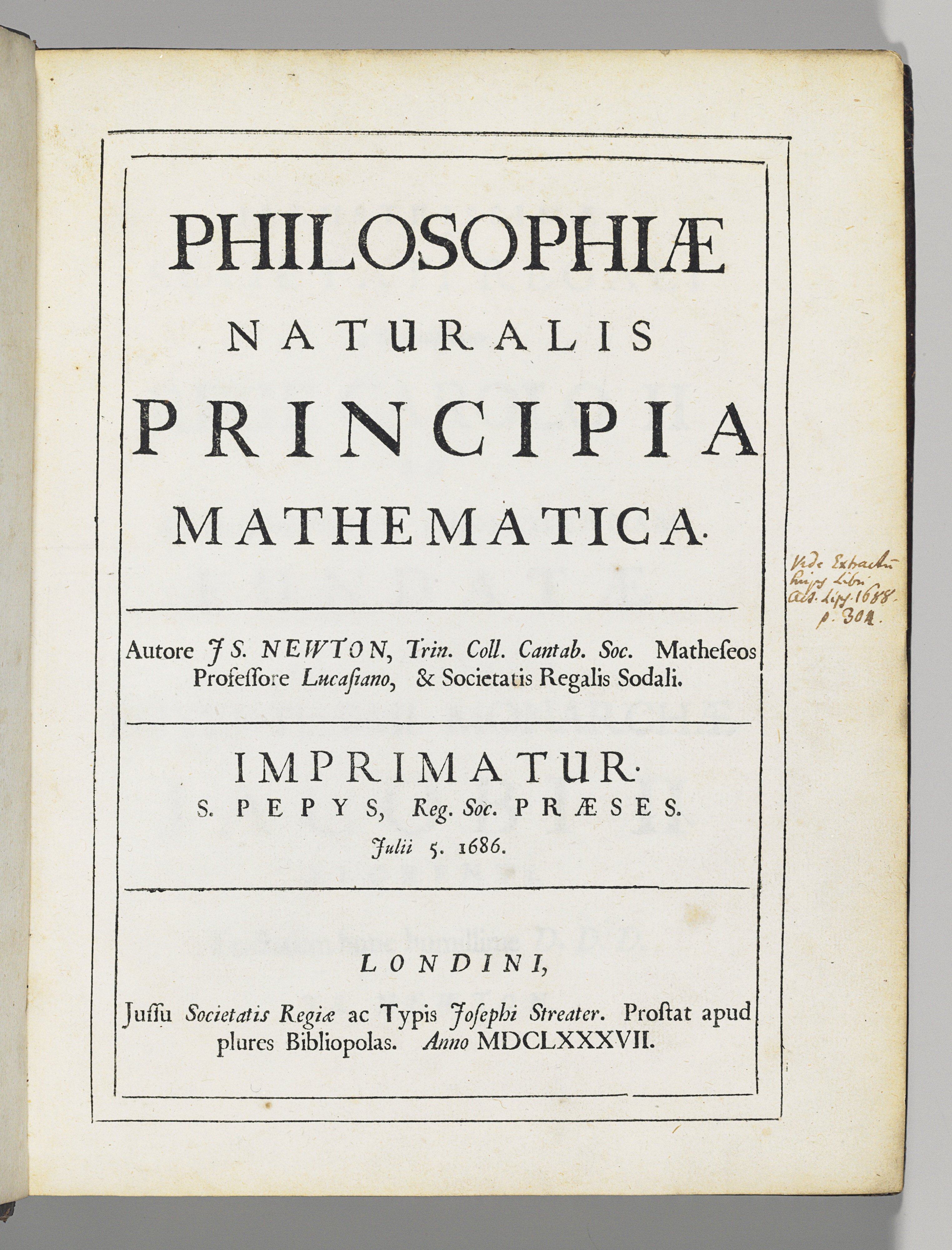 NEWTON, Sir Isaac (1642-1727, knighted 1705). Philosophiae naturalis principia mathematica. [Edited by Edmond Halley (1656-1743).] London: Joseph Streater for the Royal Society [at the expense of Edmond Halley], to be sold by various booksellers, 1687.
