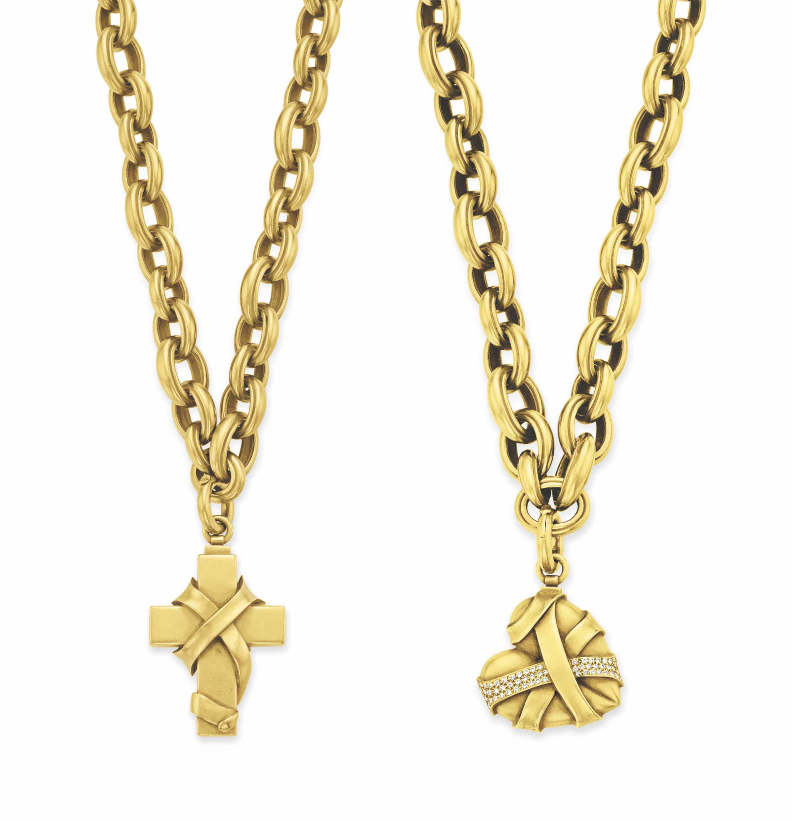 TWO GOLD PENDANT NECKLACES, BY BARRY KIESELSTEIN-CORD