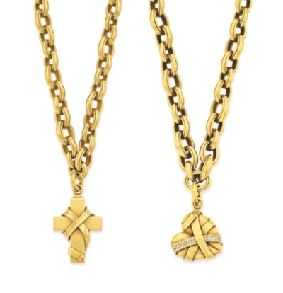TWO GOLD PENDANT NECKLACES, BY