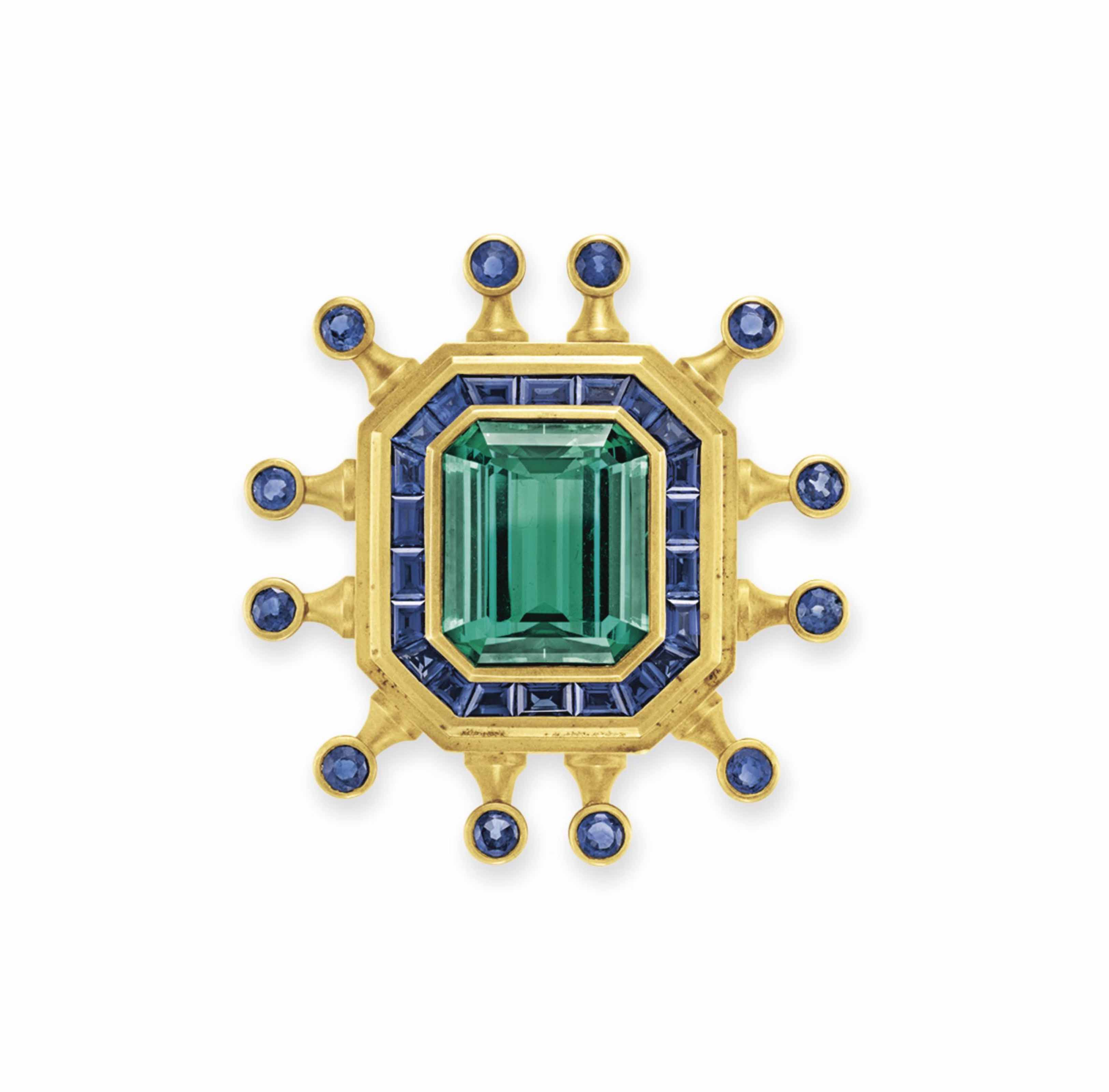A SAPPHIRE, TOURMALINE AND GOLD BROOCH, BY BARRY KIESELSTEIN-CORD
