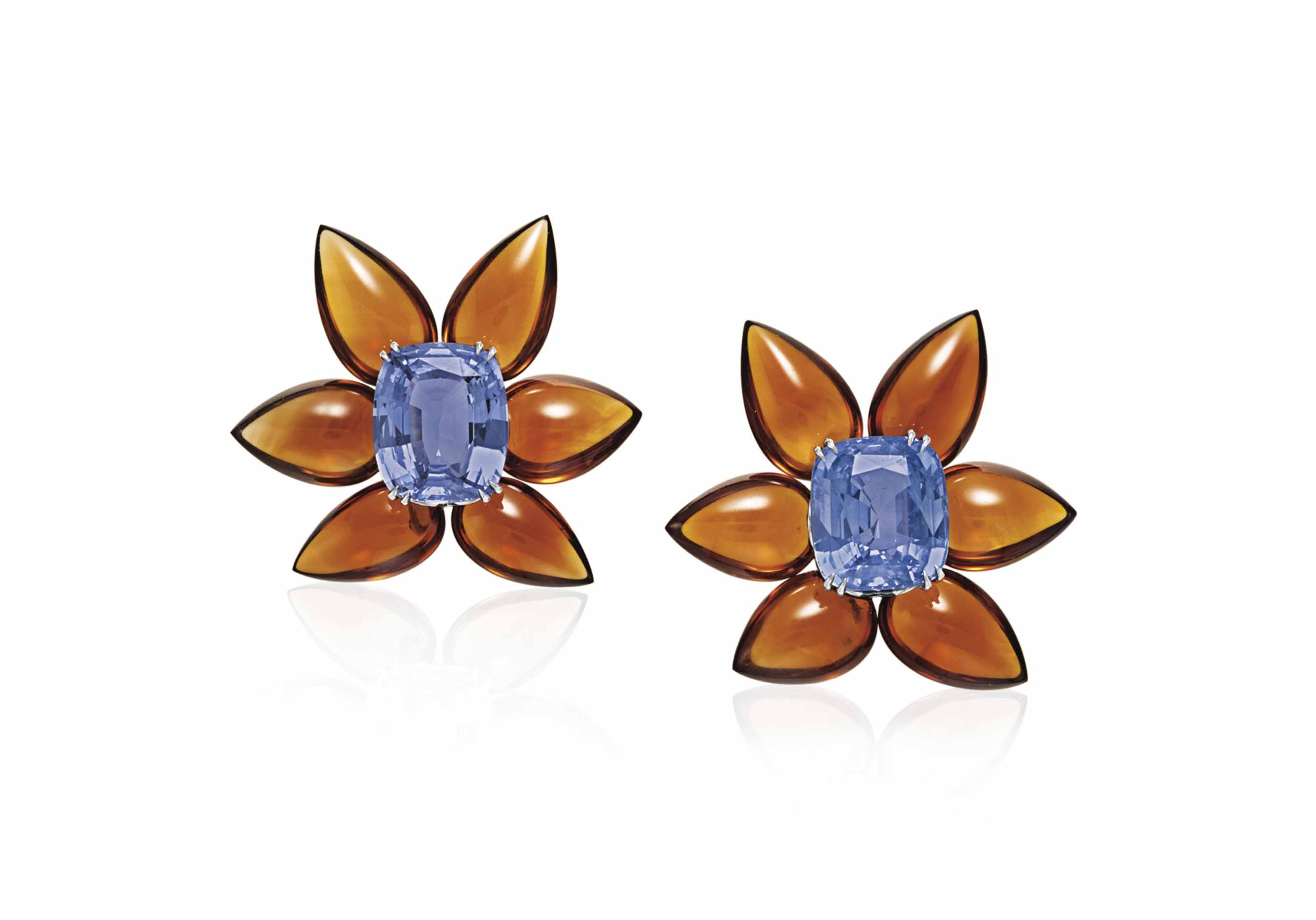 A PAIR OF SAPPHIRE AND CITRINE FLOWER BROOCHES, BY TAFFIN