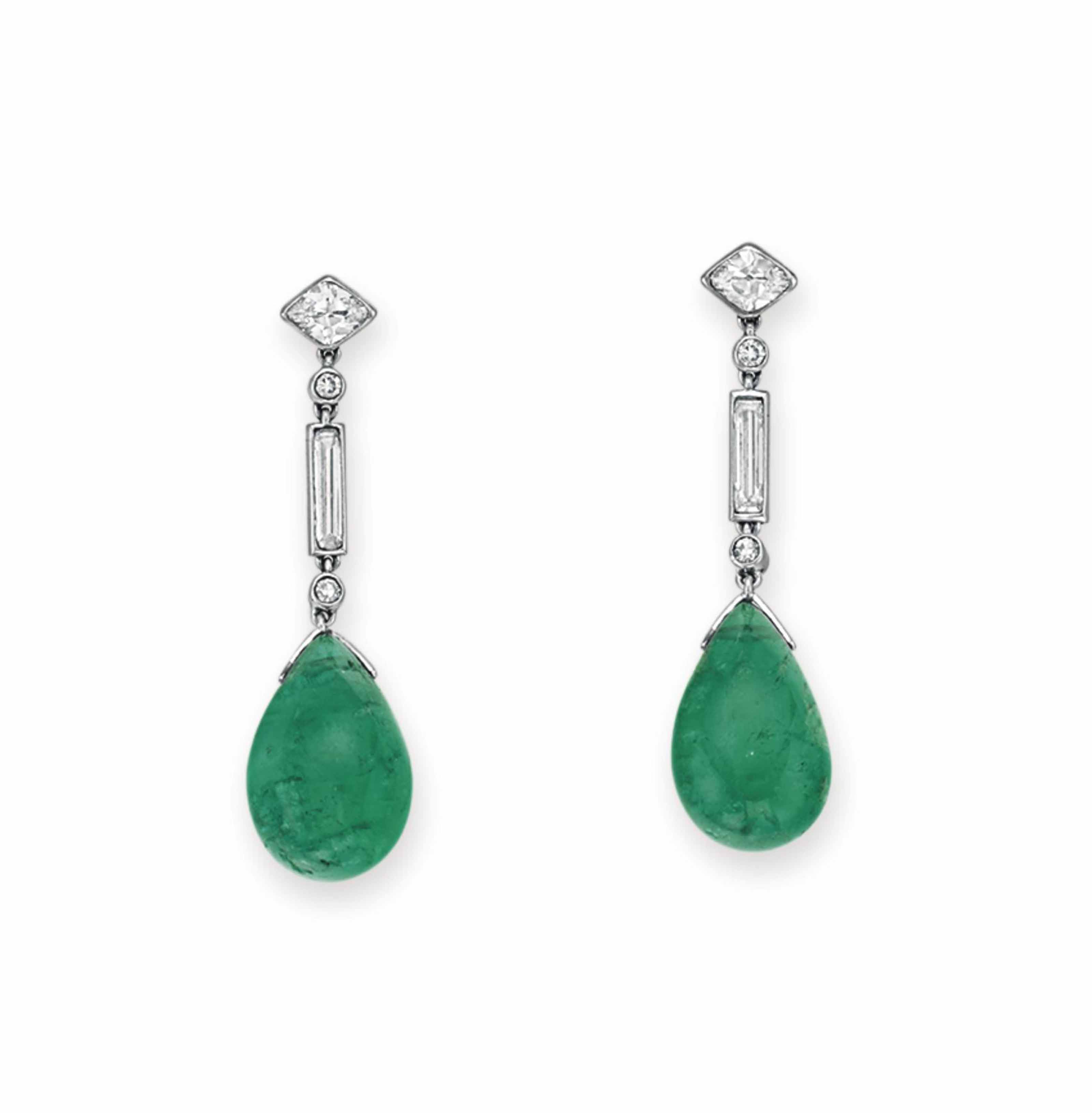 A PAIR OF ART DECO EMERALD AND