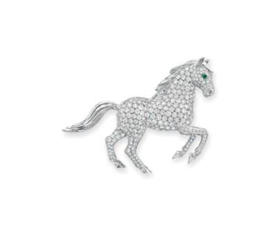 A DIAMOND AND EMERALD HORSE BR