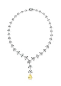 A COLORED DIAMOND AND DIAMOND NECKLACE, BY ASPREY