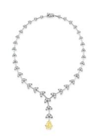 A COLORED DIAMOND AND DIAMOND NECKLACE, BY ASPREY