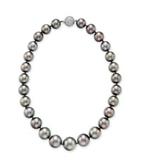 A CULTURED GRAY PEARL AND DIAMOND NECKLACE, BY ASPREY