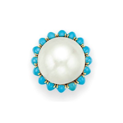 A MABÉ PEARL AND TURQUOISE RIN