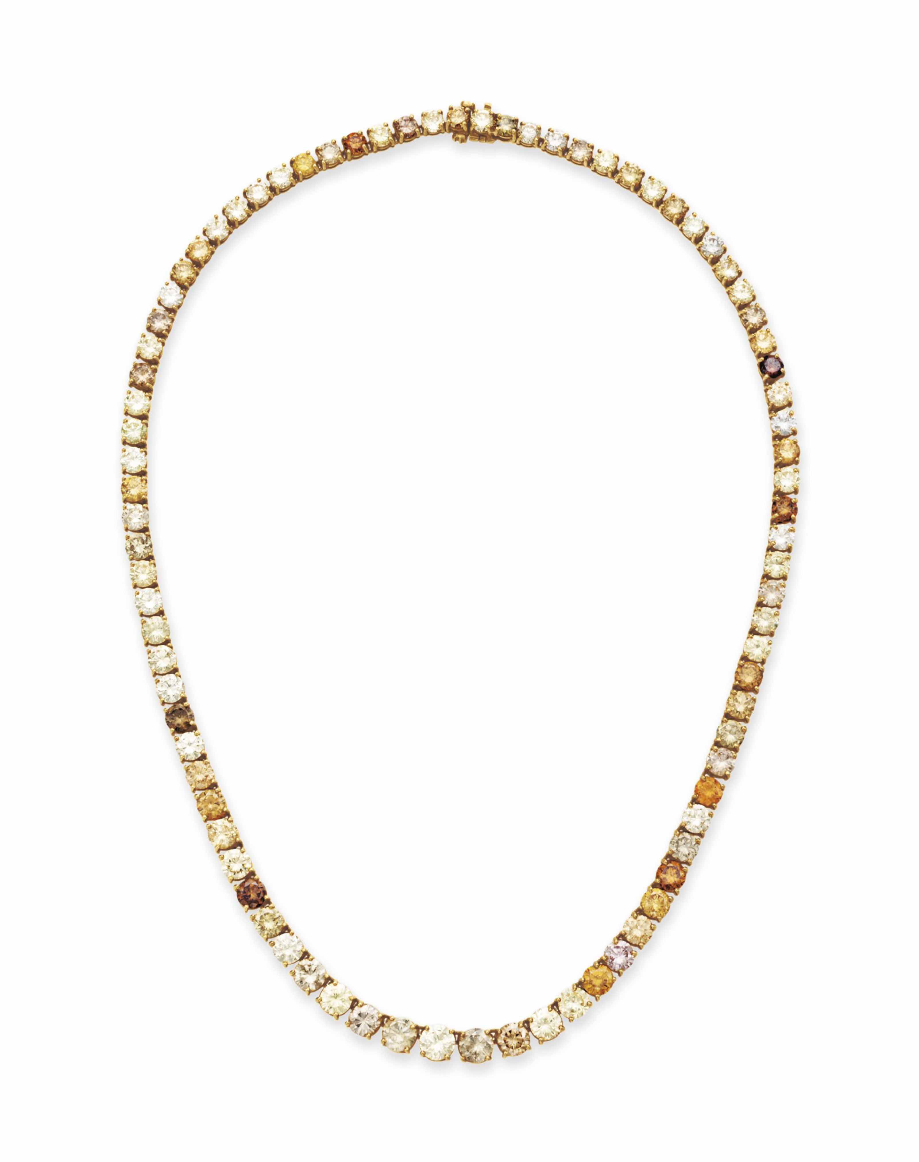 A COLORED DIAMOND LINE NECKLAC