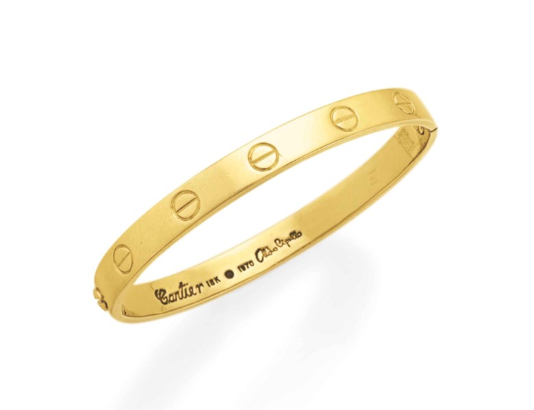 A gold 'Love' bangle bracelet, by Aldo Cipullo, Cartier. Sold for $4,750 on 10 December 2013 at Christie's in New York