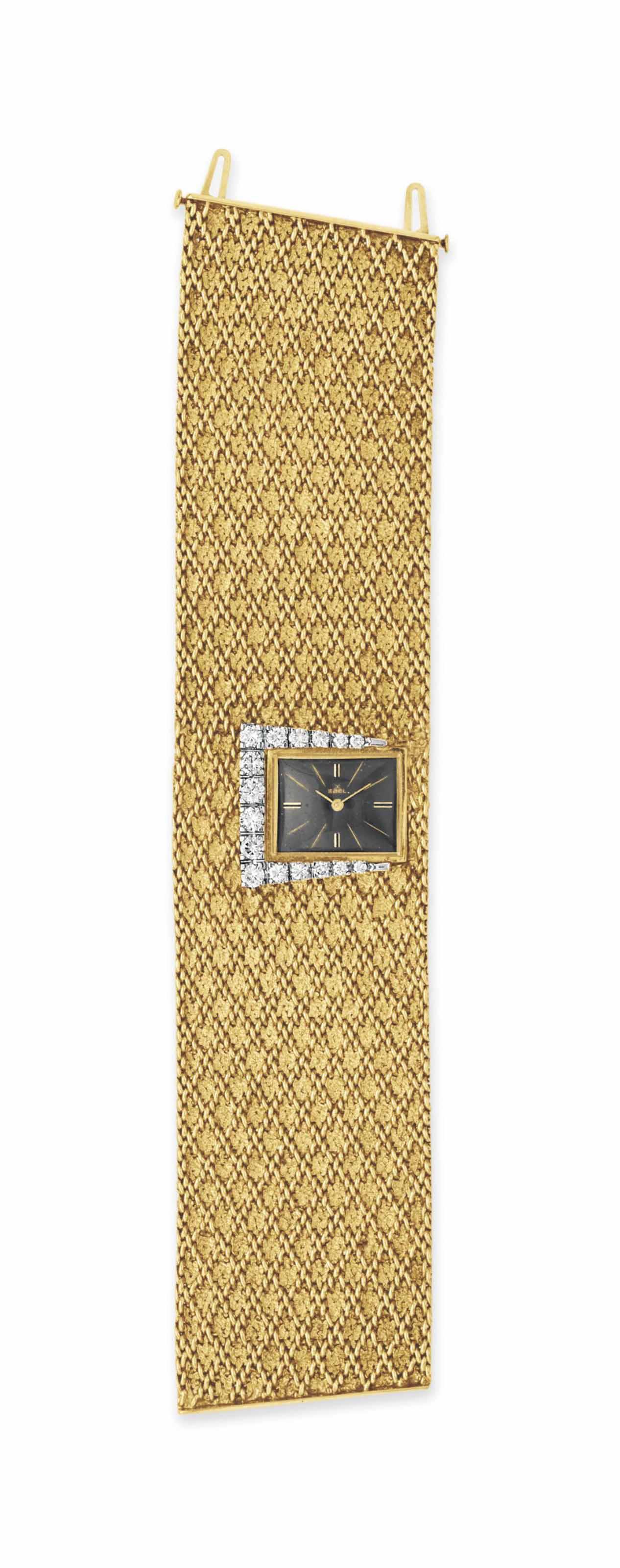 A DIAMOND AND GOLD BRACELET-WATCH, BY EBEL