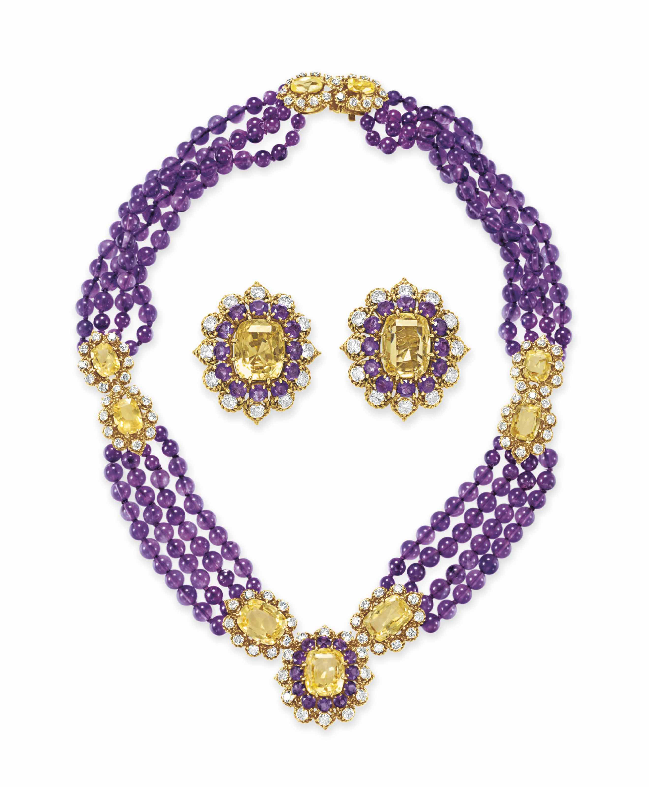 A SET OF AMETHYST, YELLOW SAPP