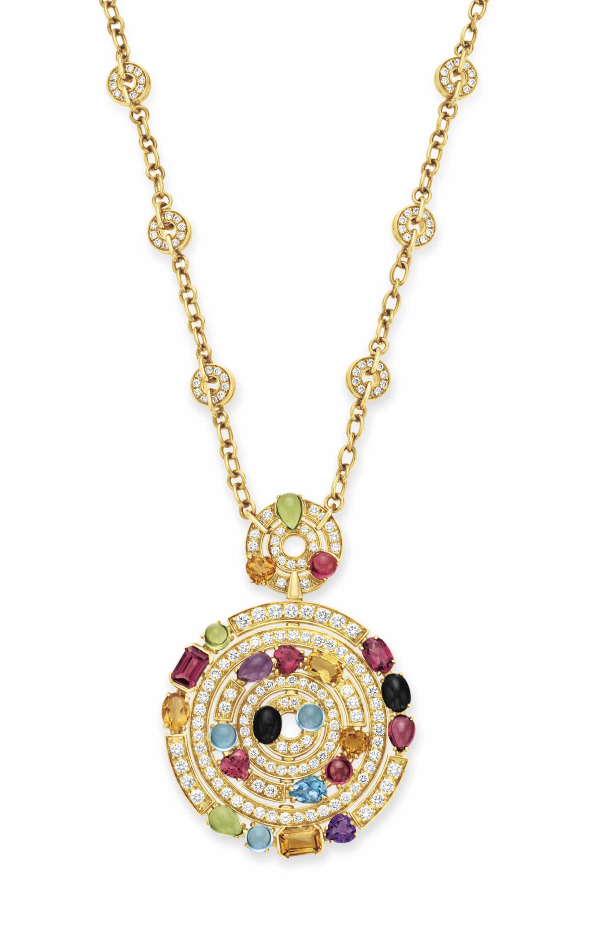 A DIAMOND AND MULTI-GEM PENDANT NECKLACE, BY BVLGARI