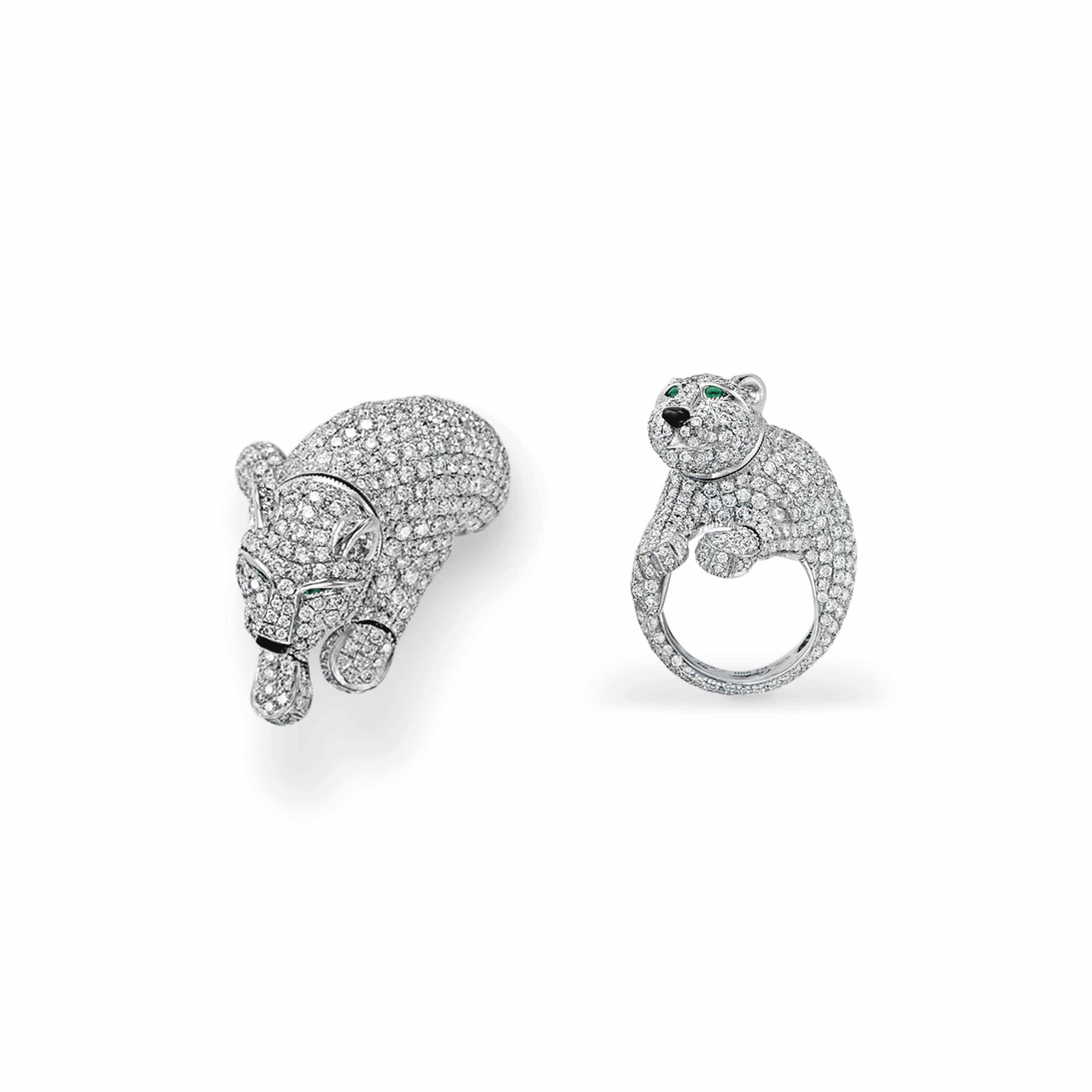 """A DIAMOND AND EMERALD """"PANTHÈRE"""" RING, BY CARTIER"""