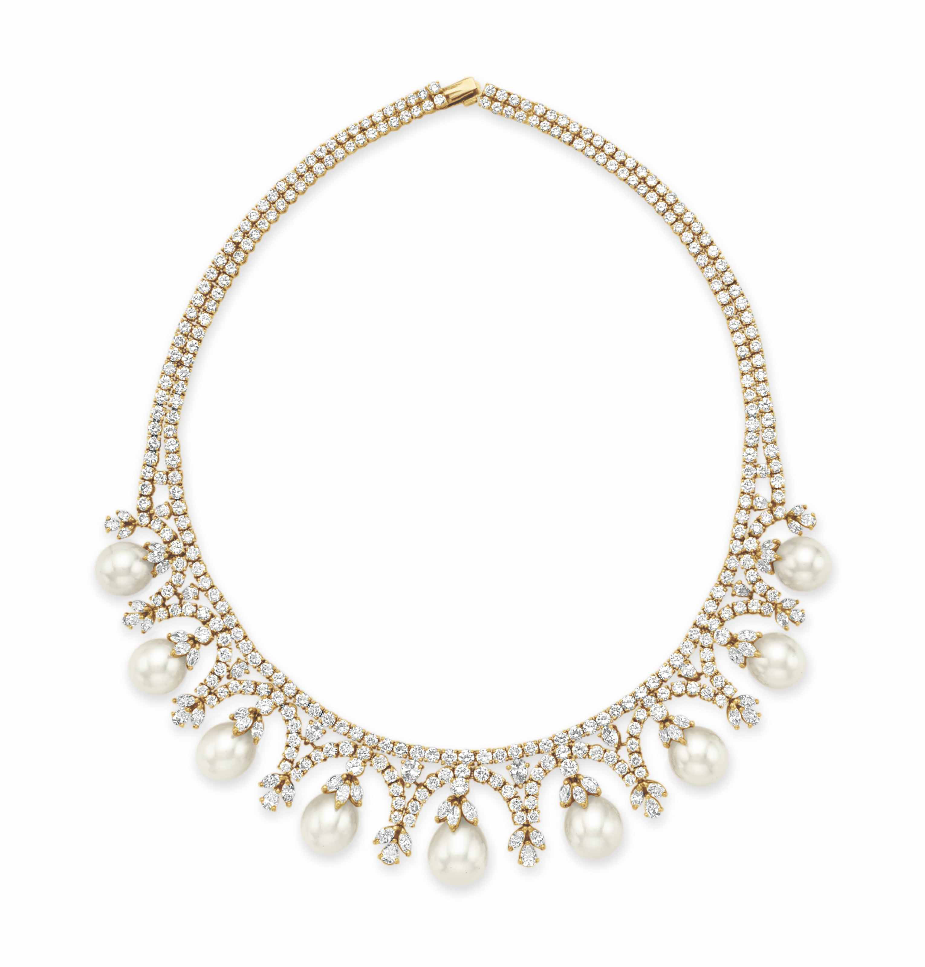 A CULTURED PEARL AND DIAMOND NECKLACE, BY CHANTECLER