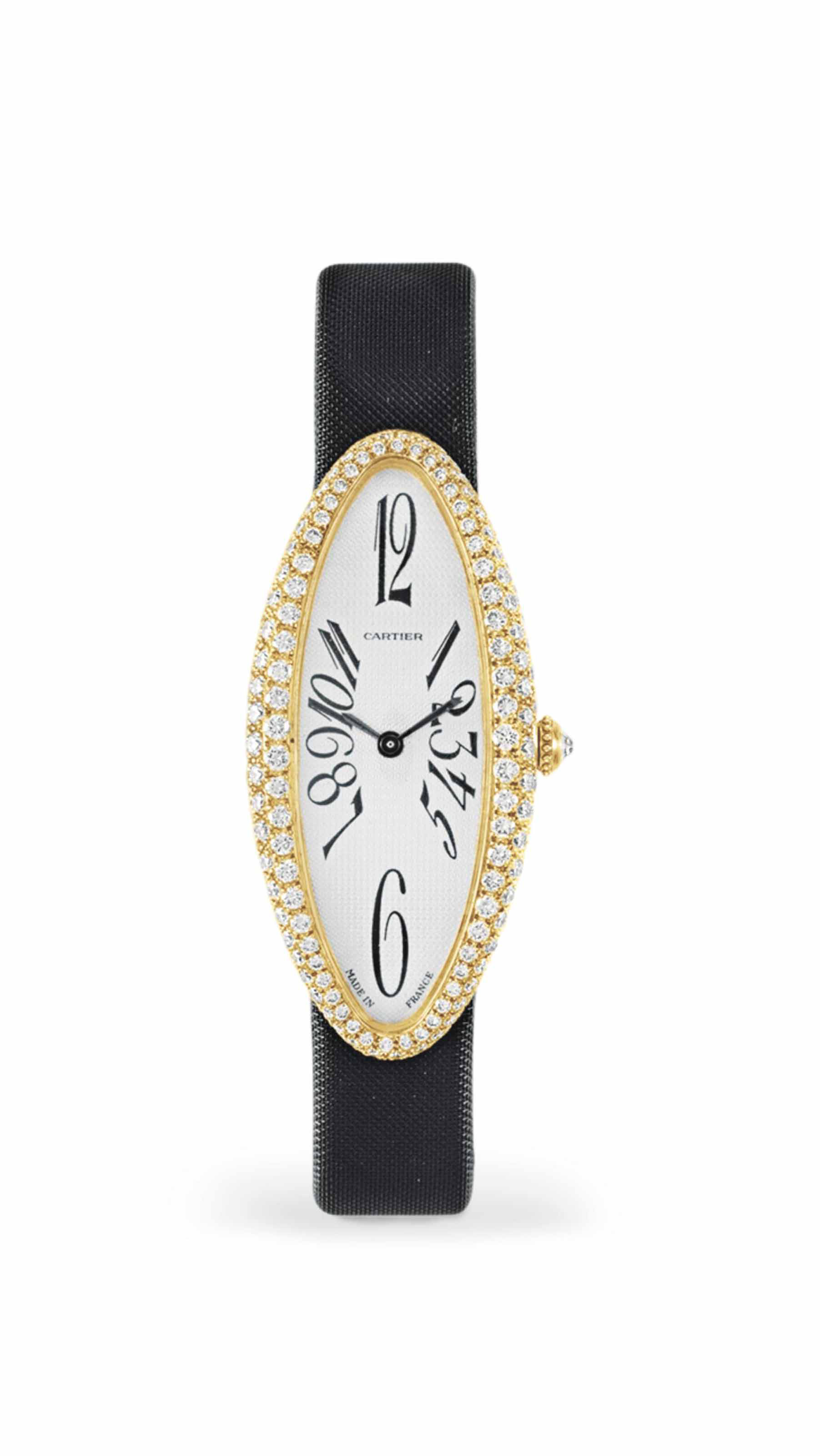 A Diamond And Gold Baignoire Allongee Wristwatch By Cartier