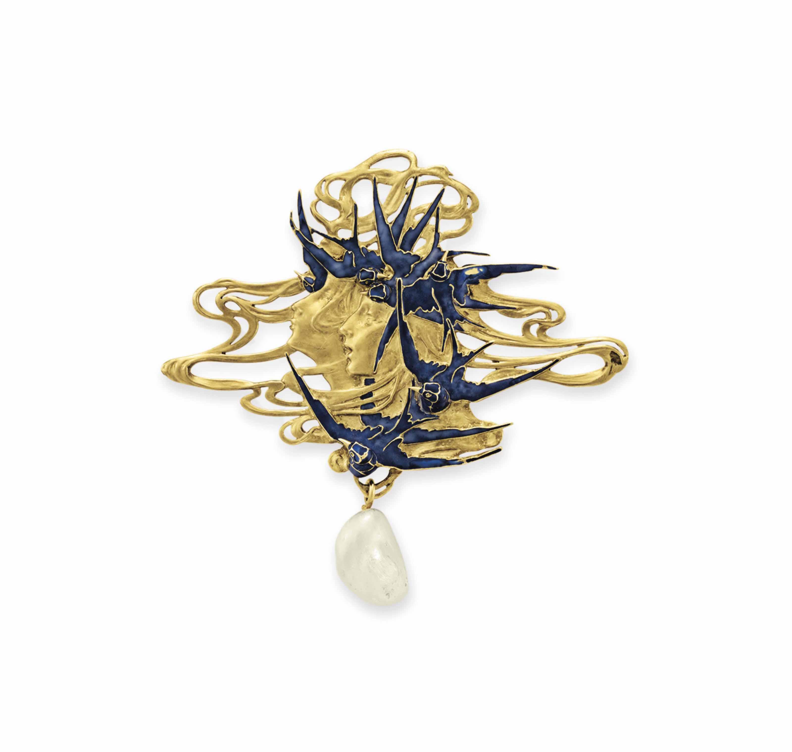 An Art Nouveau Gold Enamel And Pearl Brooch By Ren 201