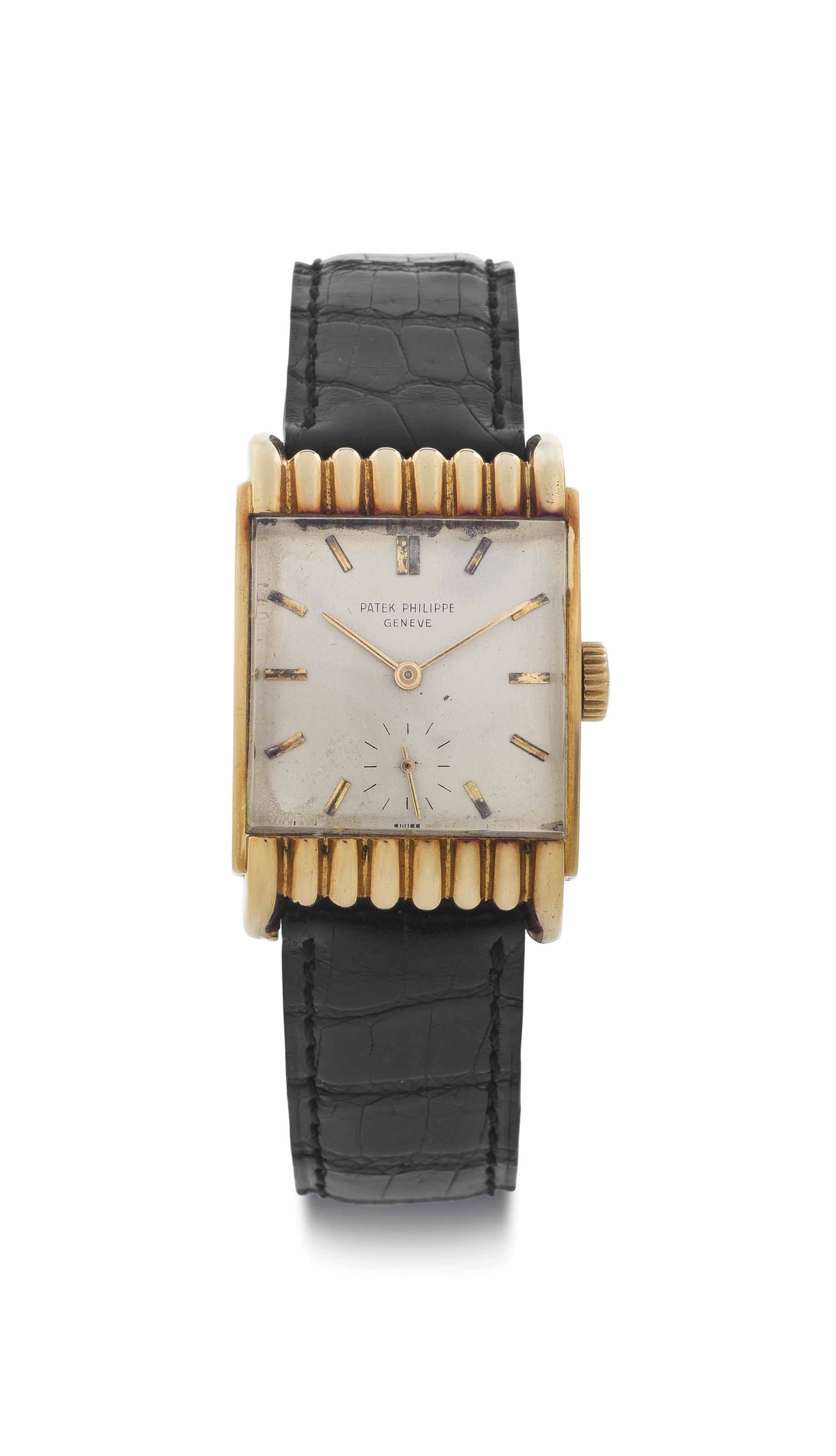Patek Philippe. An Unusual 18k Gold Wristwatch with Scalloped Lugs