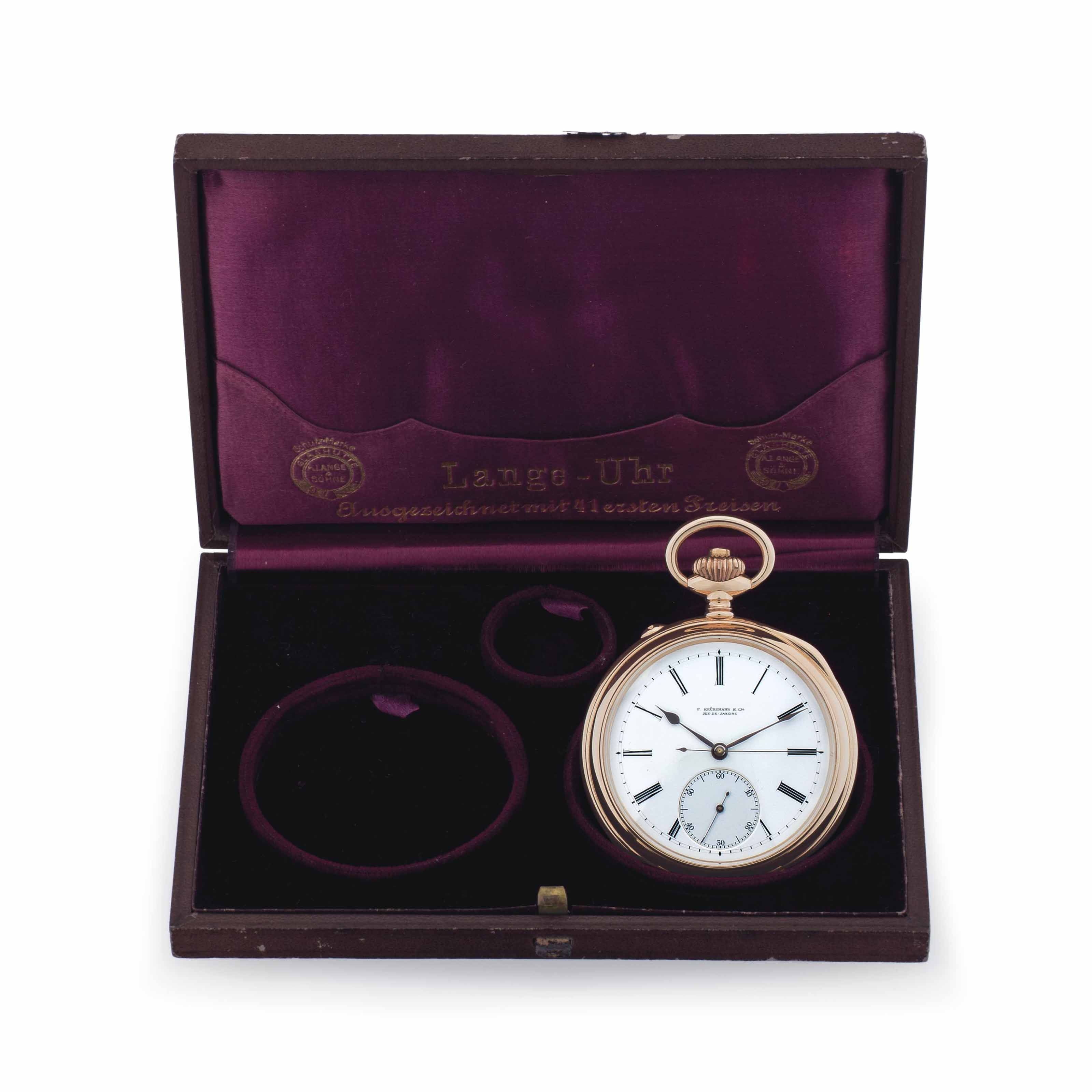 A. Lange & Söhne. A Fine 18k Pink Gold Openface Keyless Lever Pocket Watch with Deadbeat Seconds Made for the South American Market