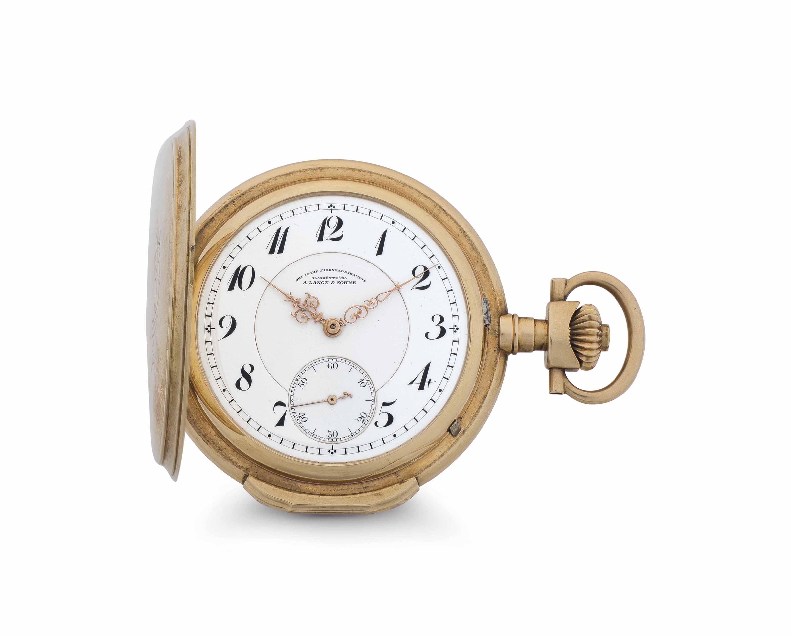 A. Lange & Söhne. A 14k Pink Gold Hunter Case Keyless Lever Pocket Watch