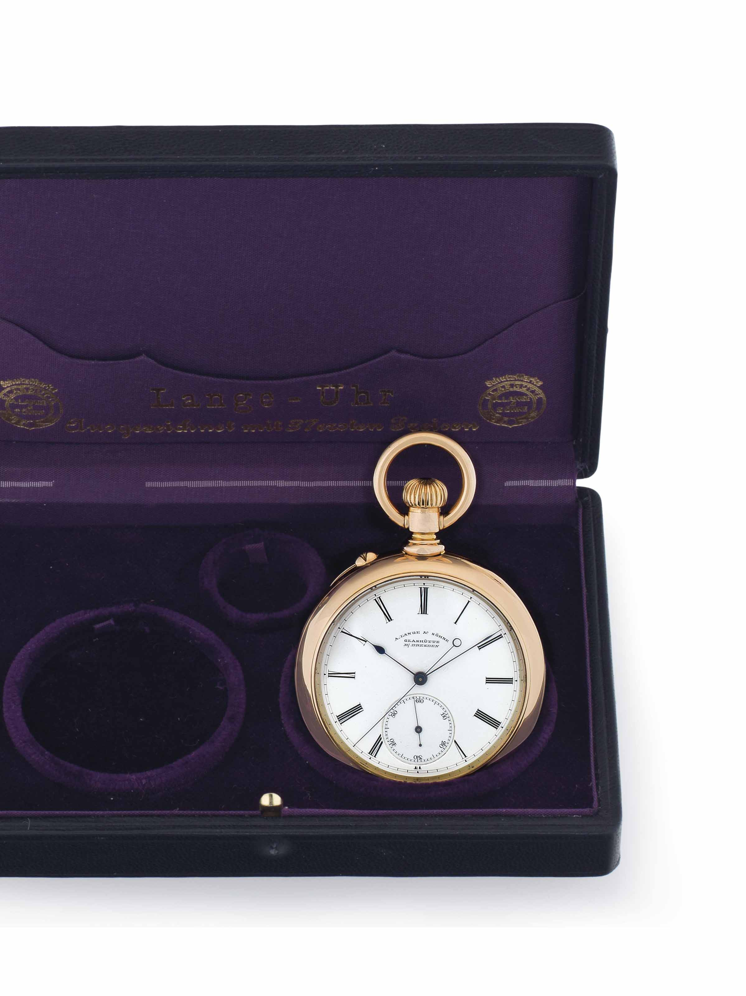 A. Lange & Söhne. A Fine 18k Pink Gold Openface Keyless Lever Pocket Watch with Deadbeat Center Seconds