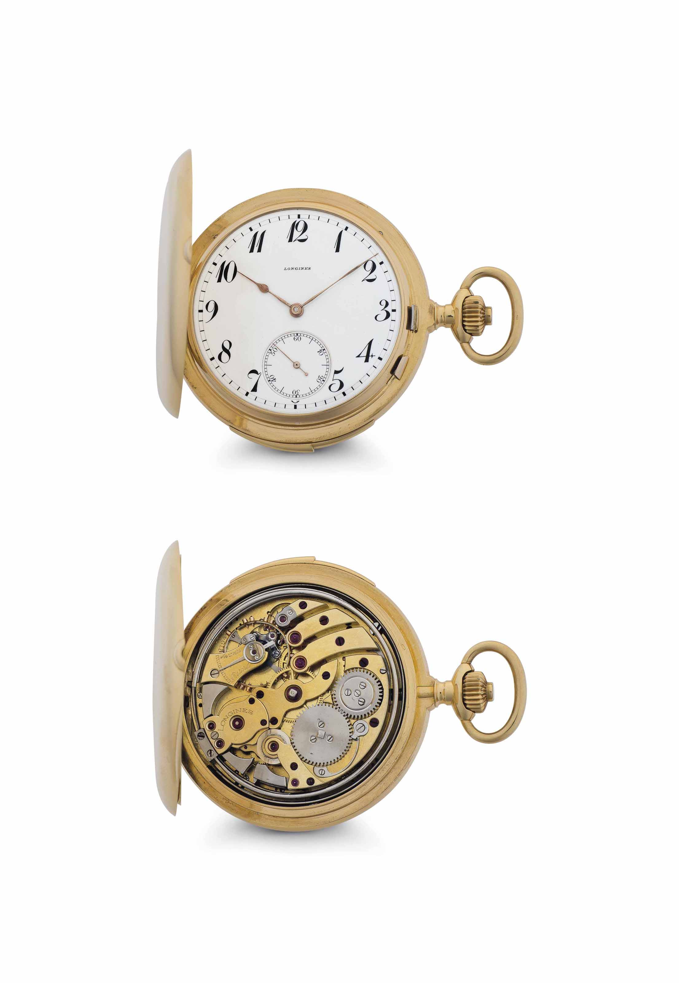 Longines. A Fine and Rare 18k Gold Hunter Case Minute Repeating Keyless Lever Watch with Westminster Carillon Chime