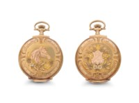 Illinois Watch Co. A Rare 14k Tri-Color Gold Hunter Case Keyless Lever Pocket Watch