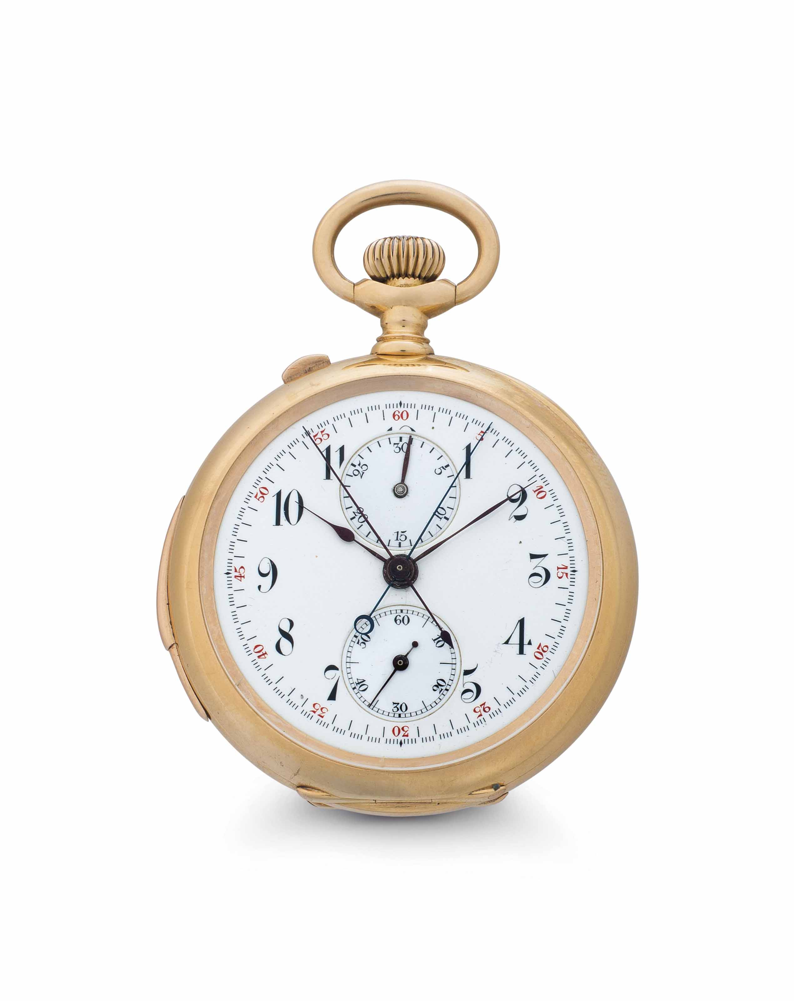 Bartens & Rice. A Fine 18k Pink Gold Minute Repeating Openface Split-Seconds Chronograph Keyless Lever Pocket Watch