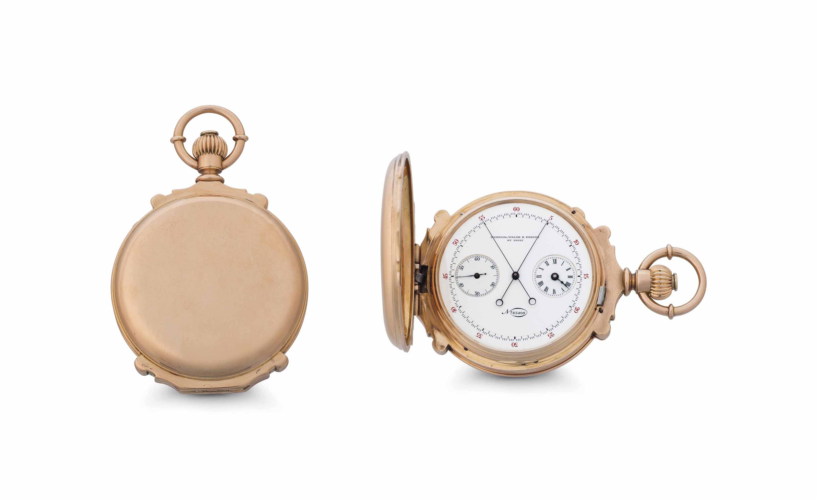 Patek Philippe.  A Fine and Rare 18k Pink Gold Box Hinged Hunter Case Keyless Lever Split-Seconds Chronograph Pocket Watch