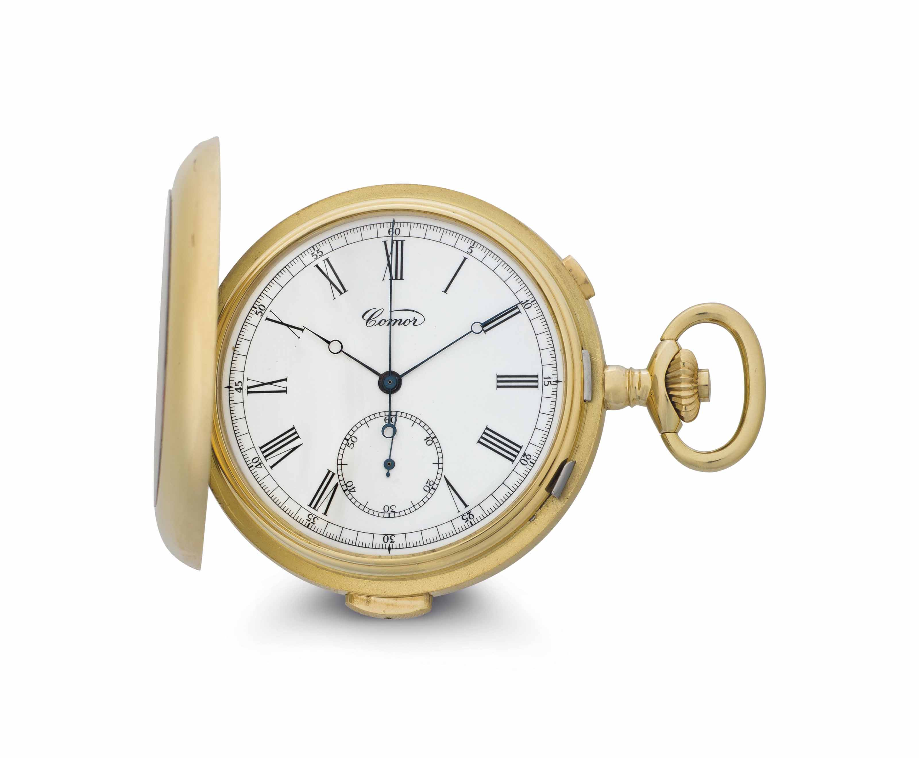 Comor. An 18k Gold Minute Repeating Hunter Case Chronograph Pocket Watch