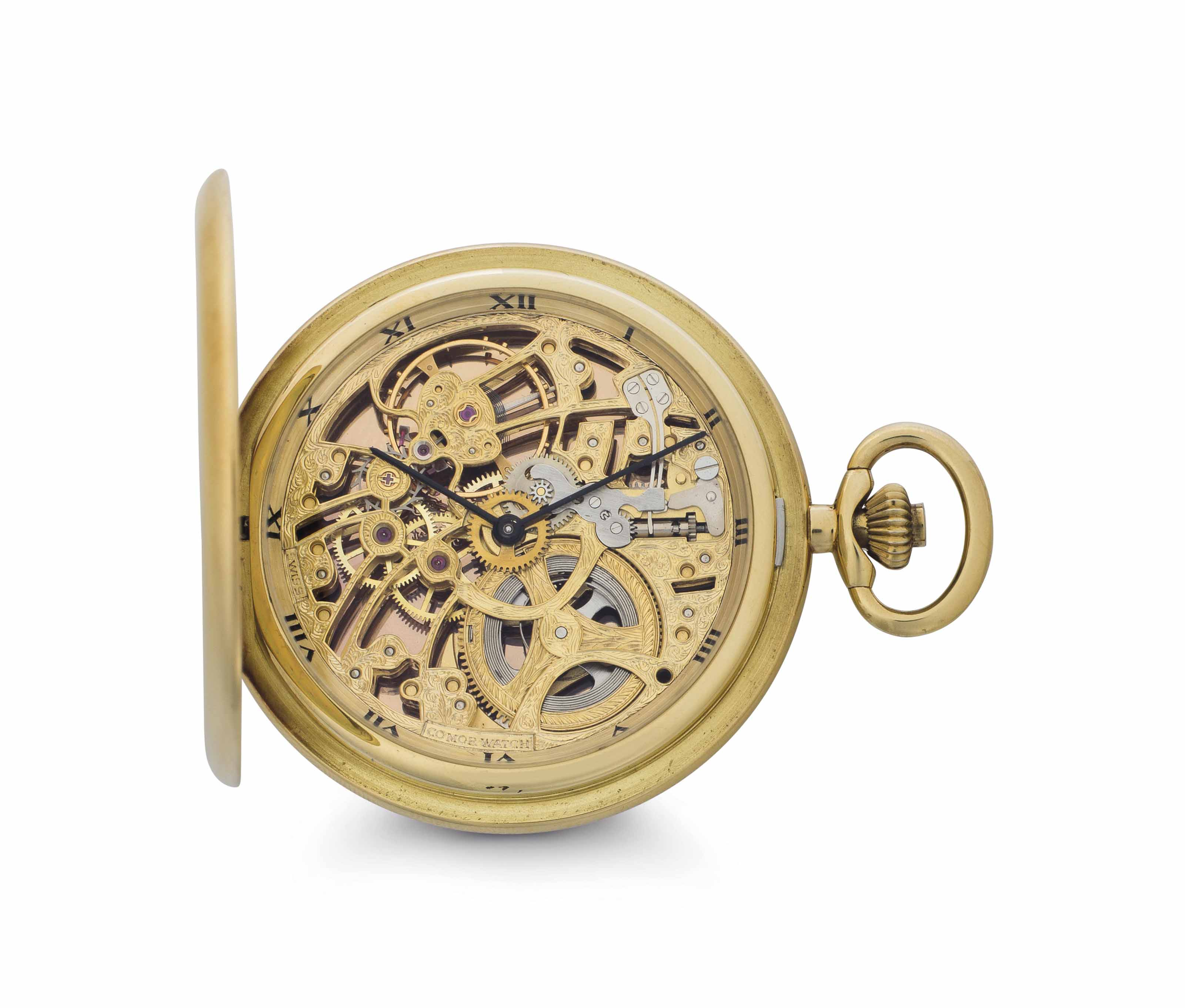 Comor. An 18k Gold Skeletonized Hunter Case Keyless Lever Pocket Watch