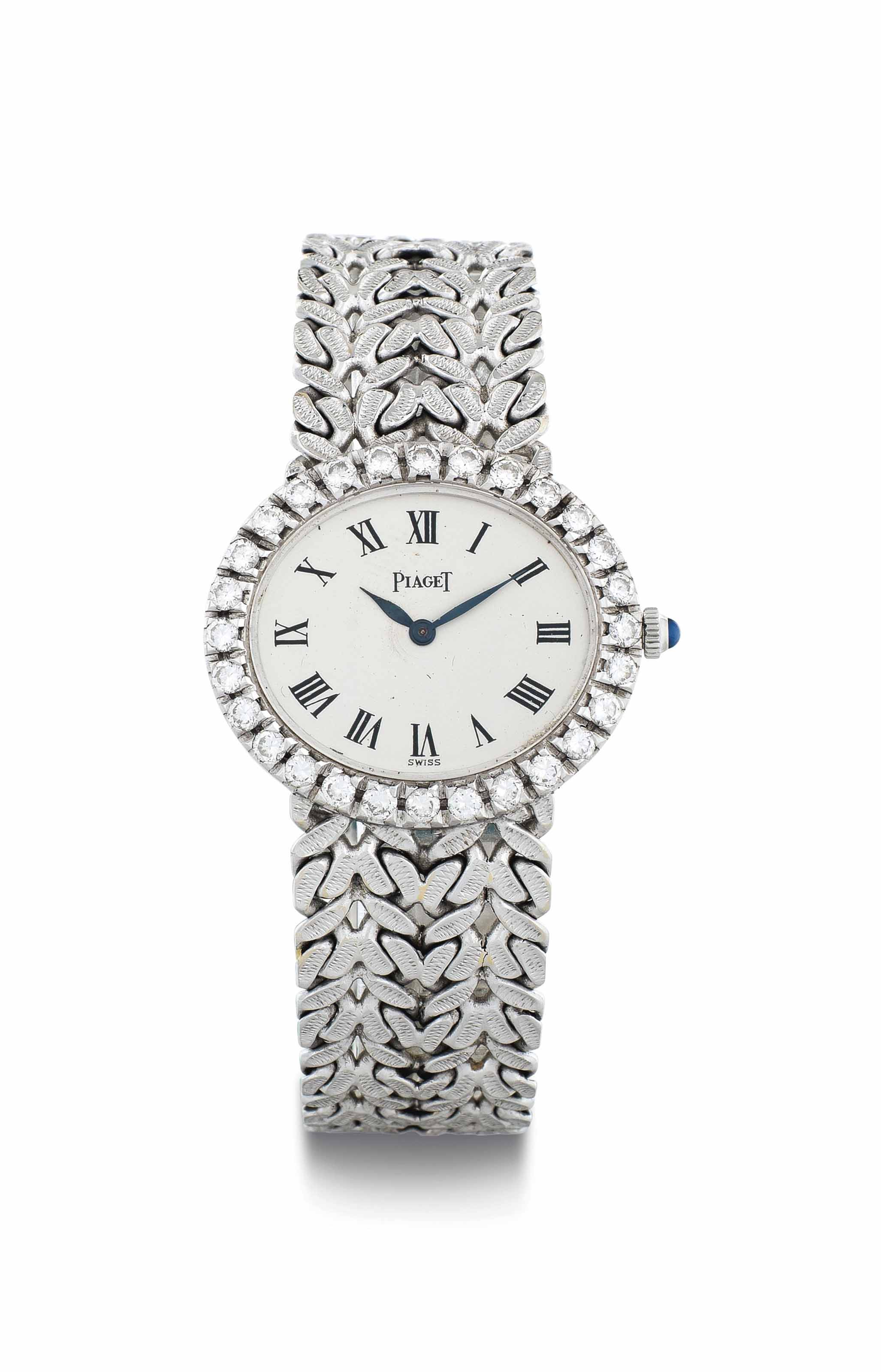Piaget. A Lady's 18k White Gold and Diamond-Set Wristwatch with Bracelet