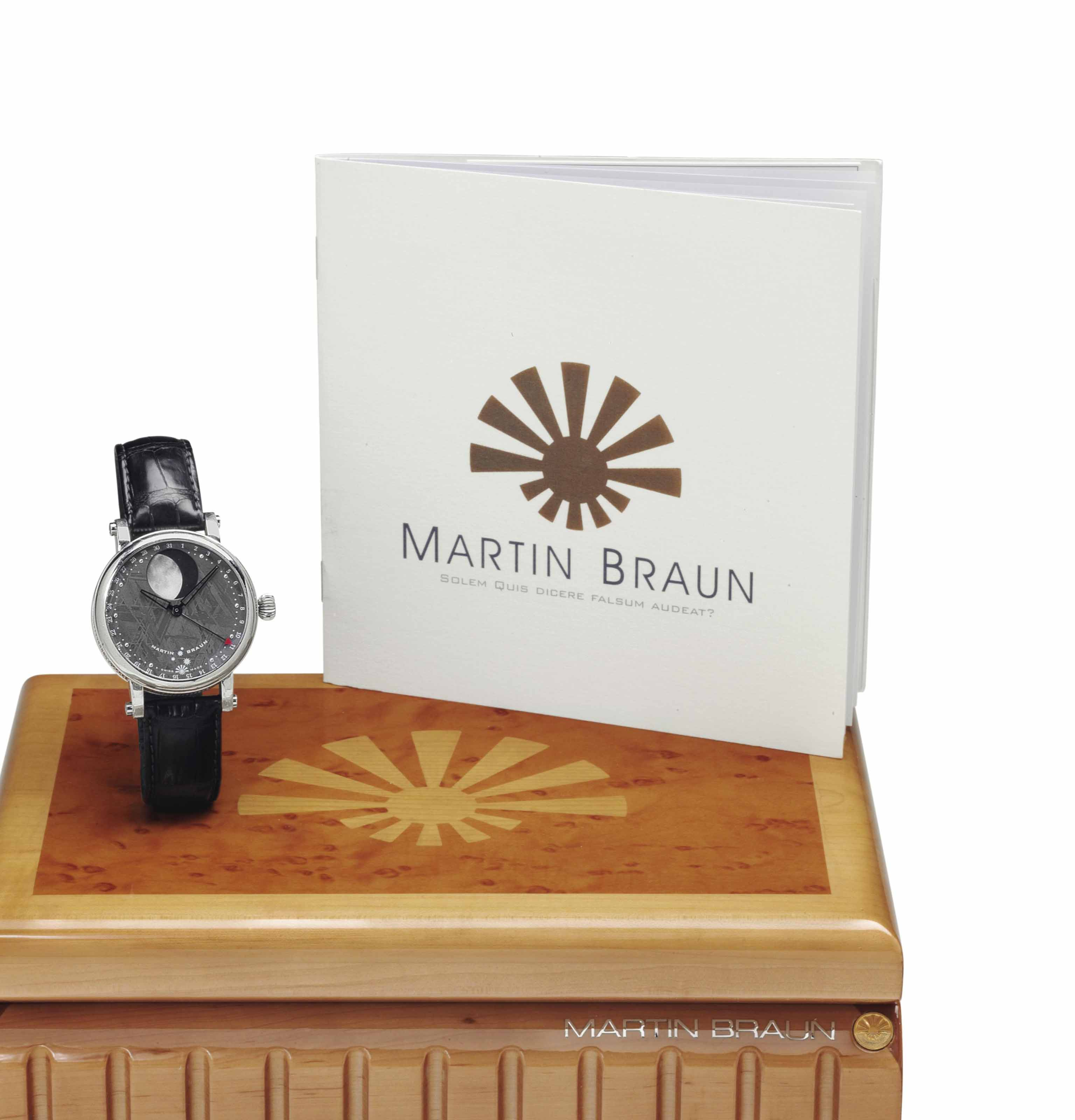 Martin Braun. A Unique Platinum and Meteorite Automatic Wristwatch with Unusual Date Ring and Moon Phases