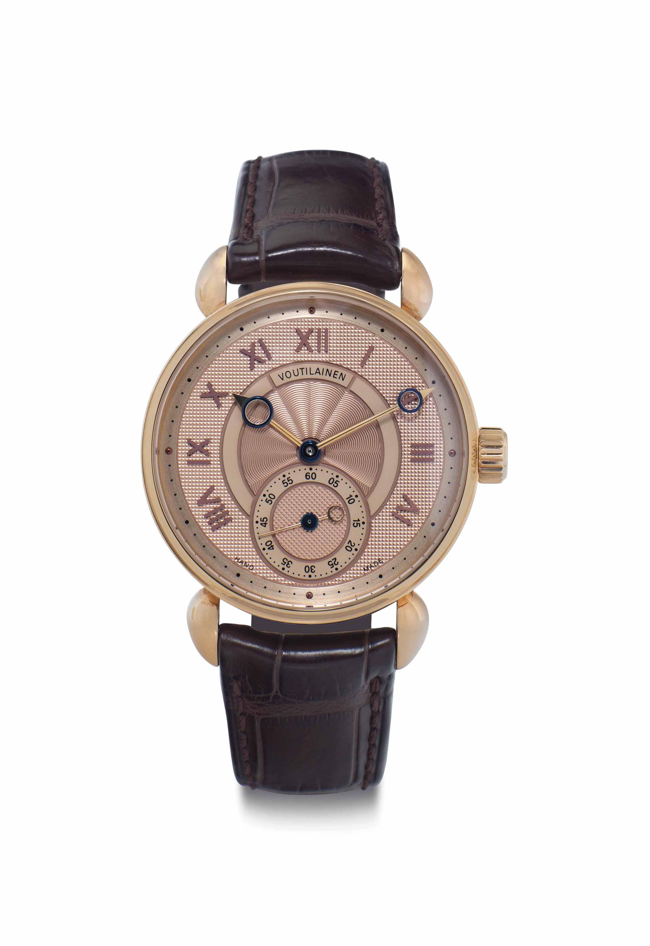 Kari Voutilainen. A Very Fine and Unique 18k Pink Gold Wristwatch