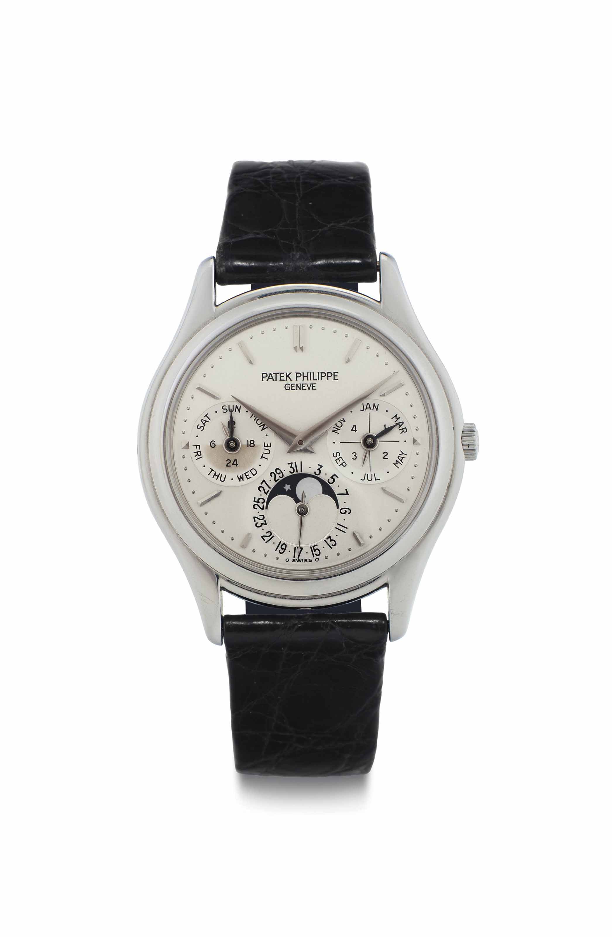 Patek Philippe. A Fine and Rare Platinum Automatic Perpetual Calendar Wristwatch with Moon Phases