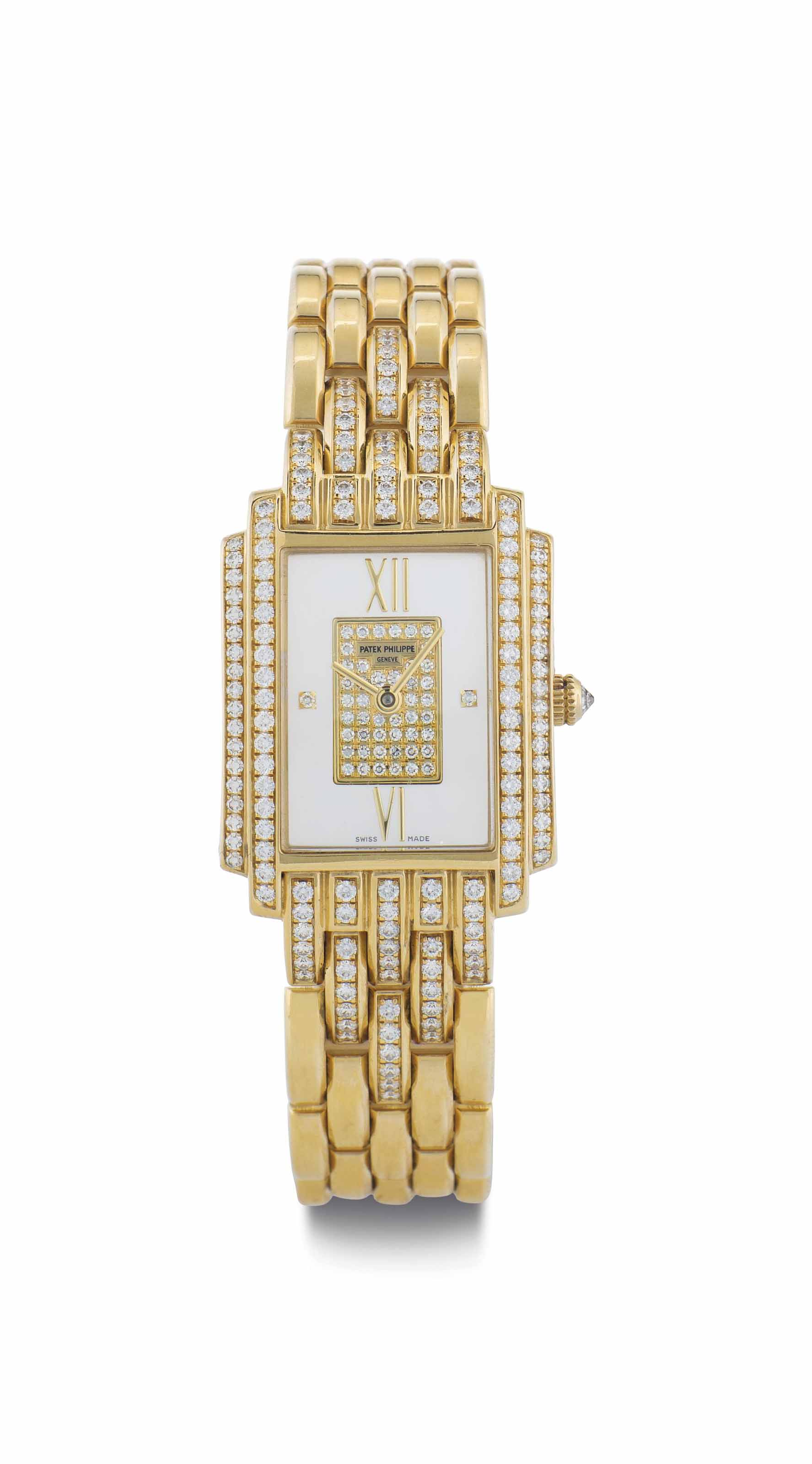 Patek Philippe. A Lady's 18k Gold and Diamond-Set Wristwatch with Mother-of-Pearl Dial and Bracelet
