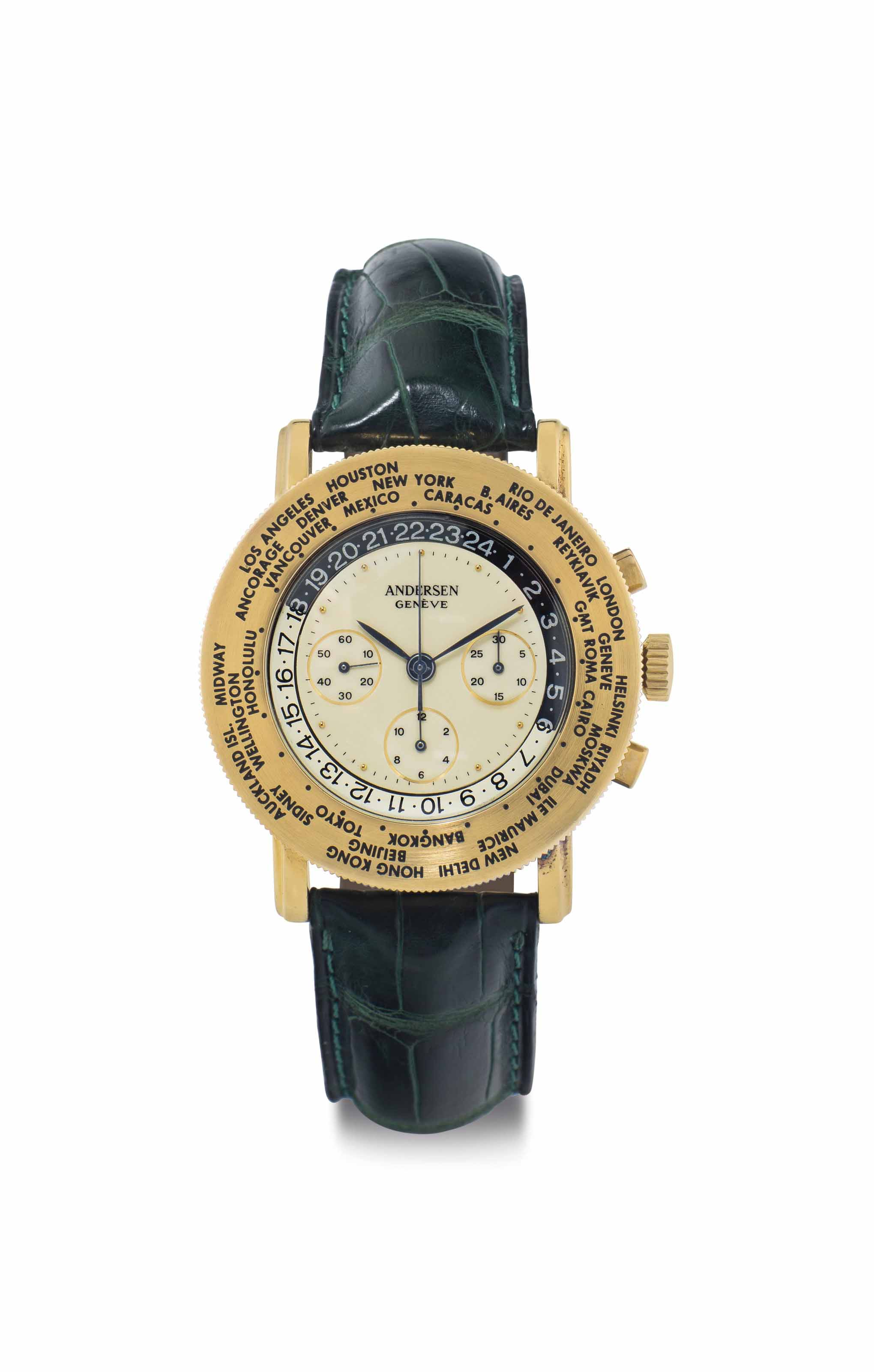 Svend Andersen. A Large 18k Gold World Time Chronograph Wristwatch