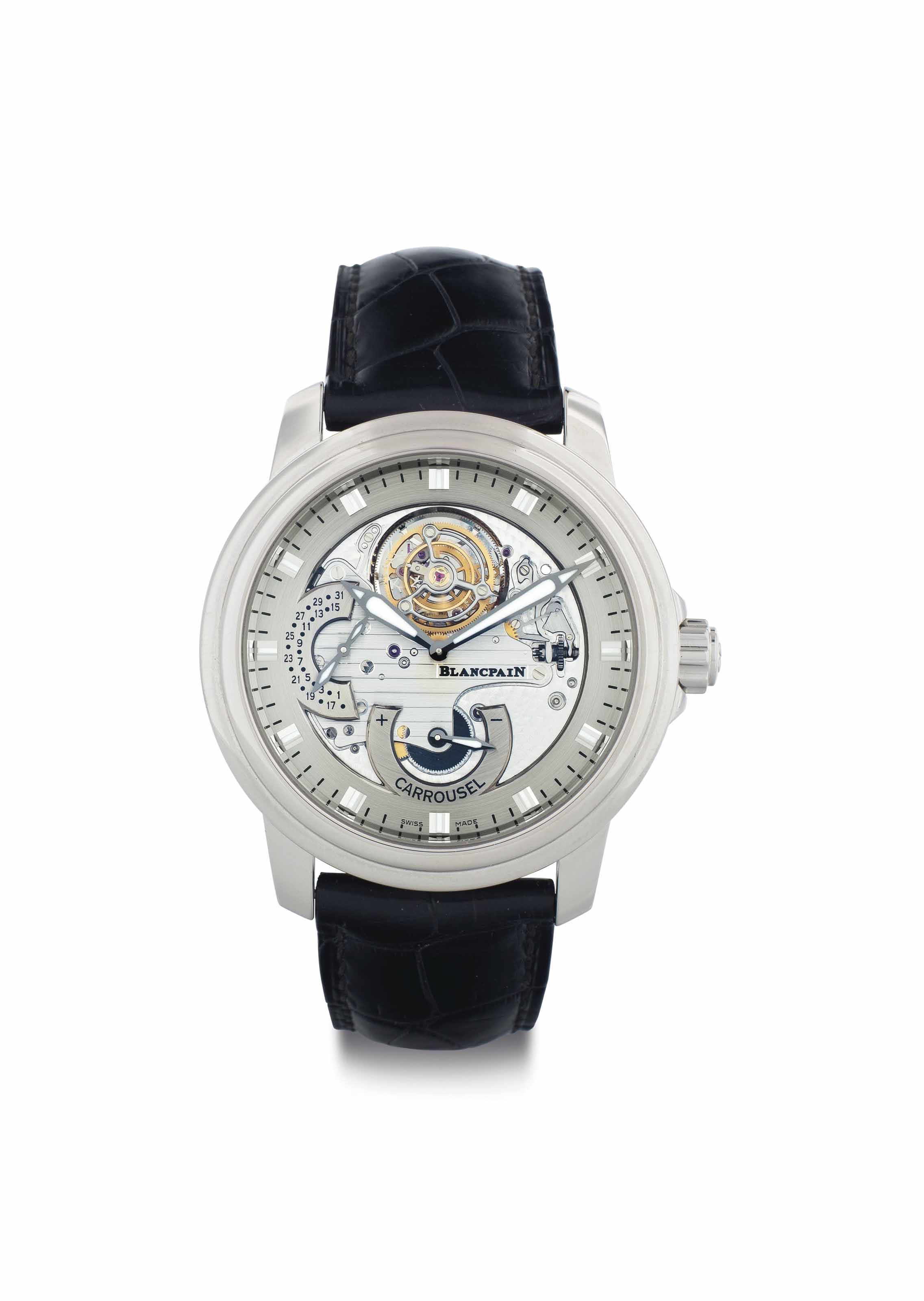 Blancpain. A Fine Limited Edition Platinum Automatic Tourbillon Wristwatch with Date