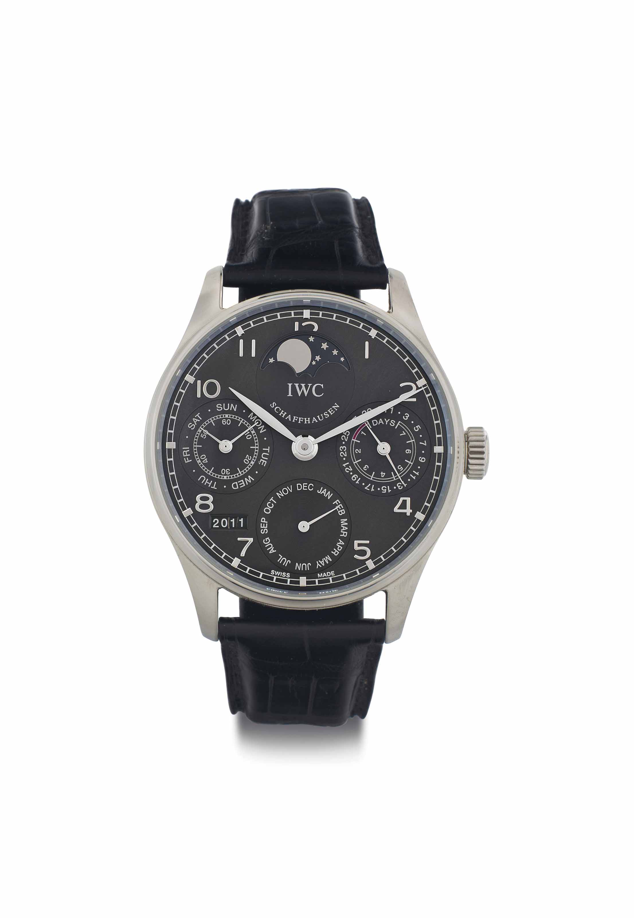 IWC. A Large 18k White Gold Automatic Perpetual Calendar Wristwatch with 7-Day Power Reserve and Moon Phases