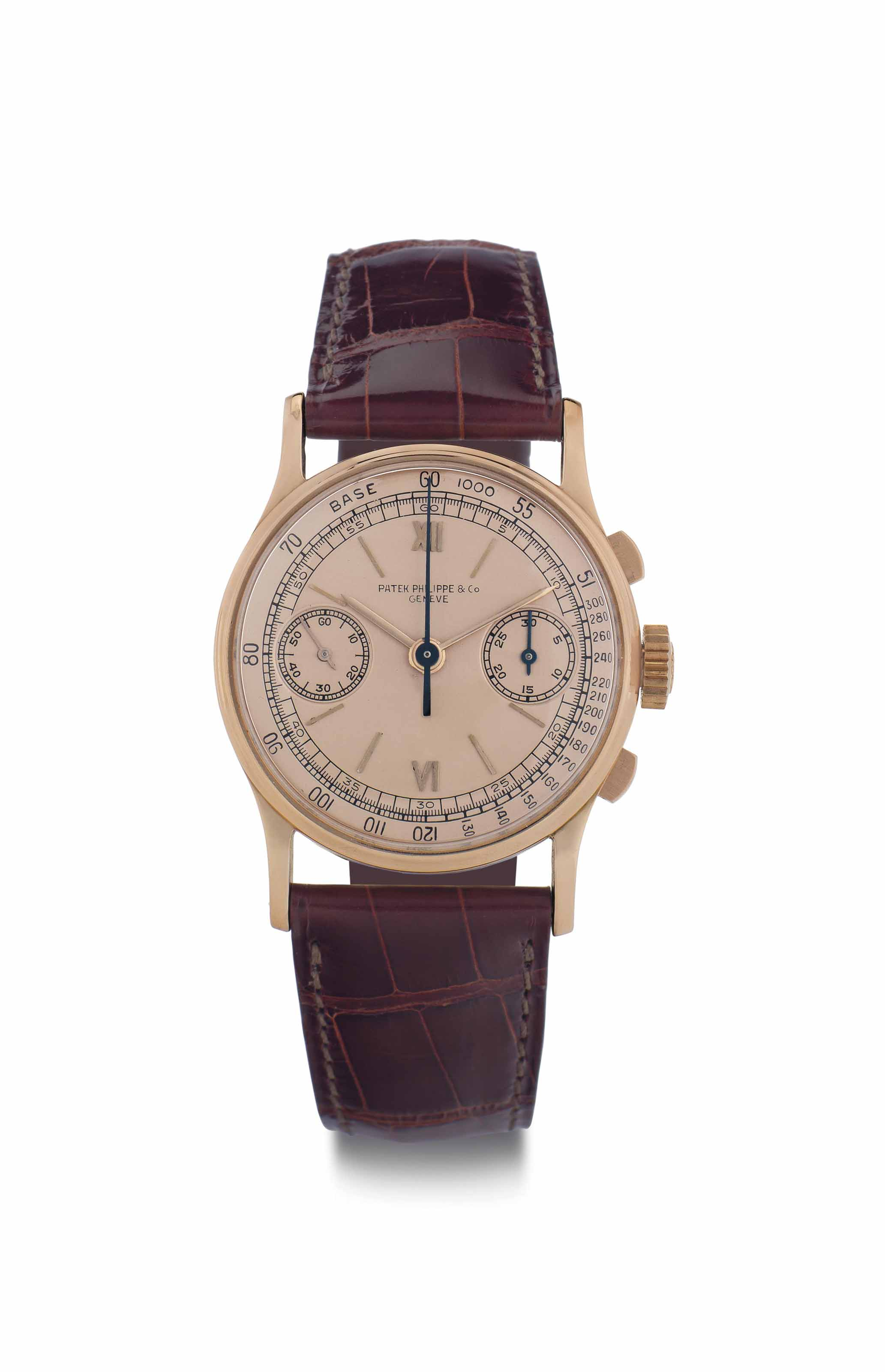 Patek Philippe. A Fine and Rare 18k Pink Gold Chronograph Wristwatch with Pink Dial