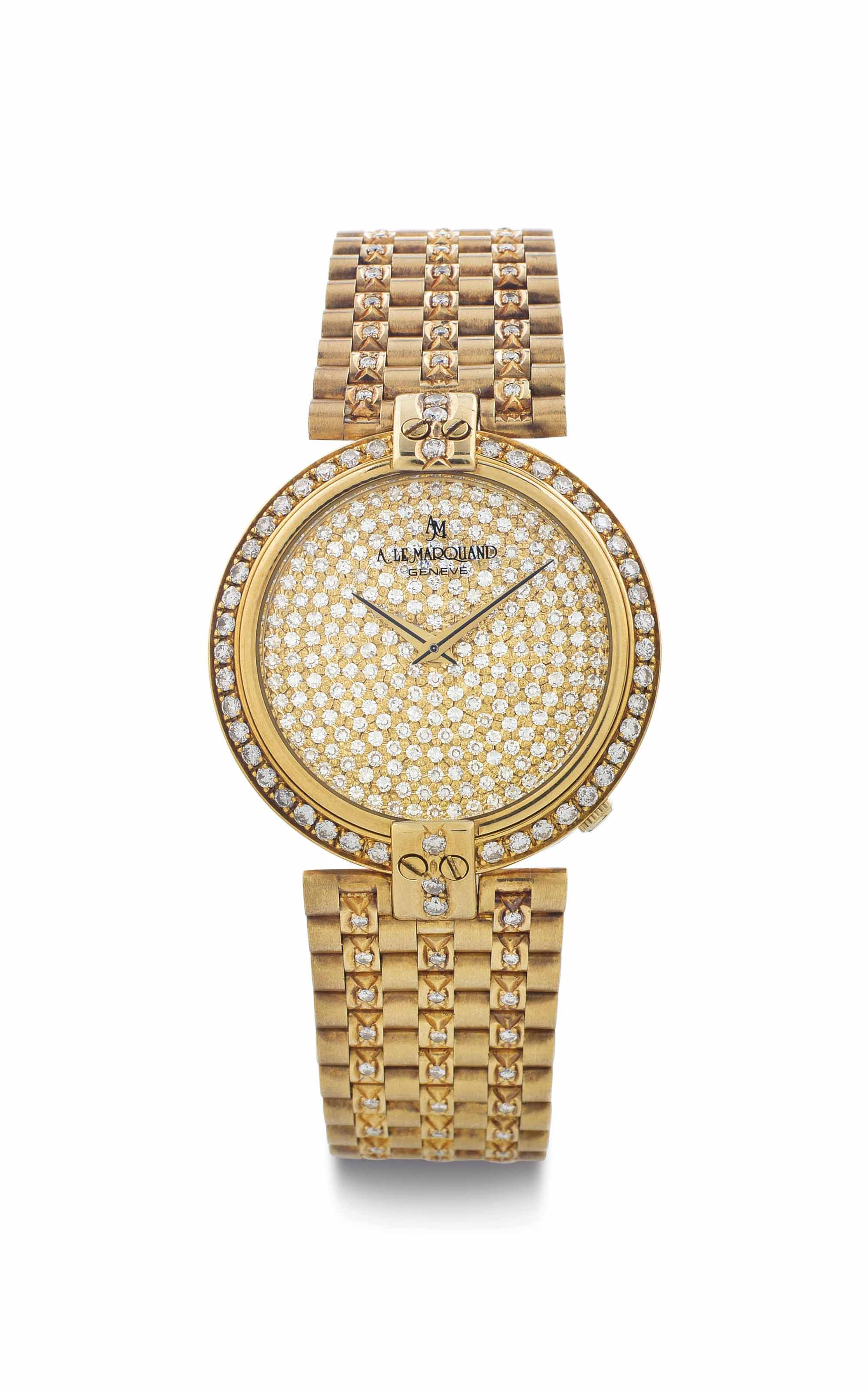 Andre Le Marquand. An 18k Gold and Diamond-Set Bracelet Watch