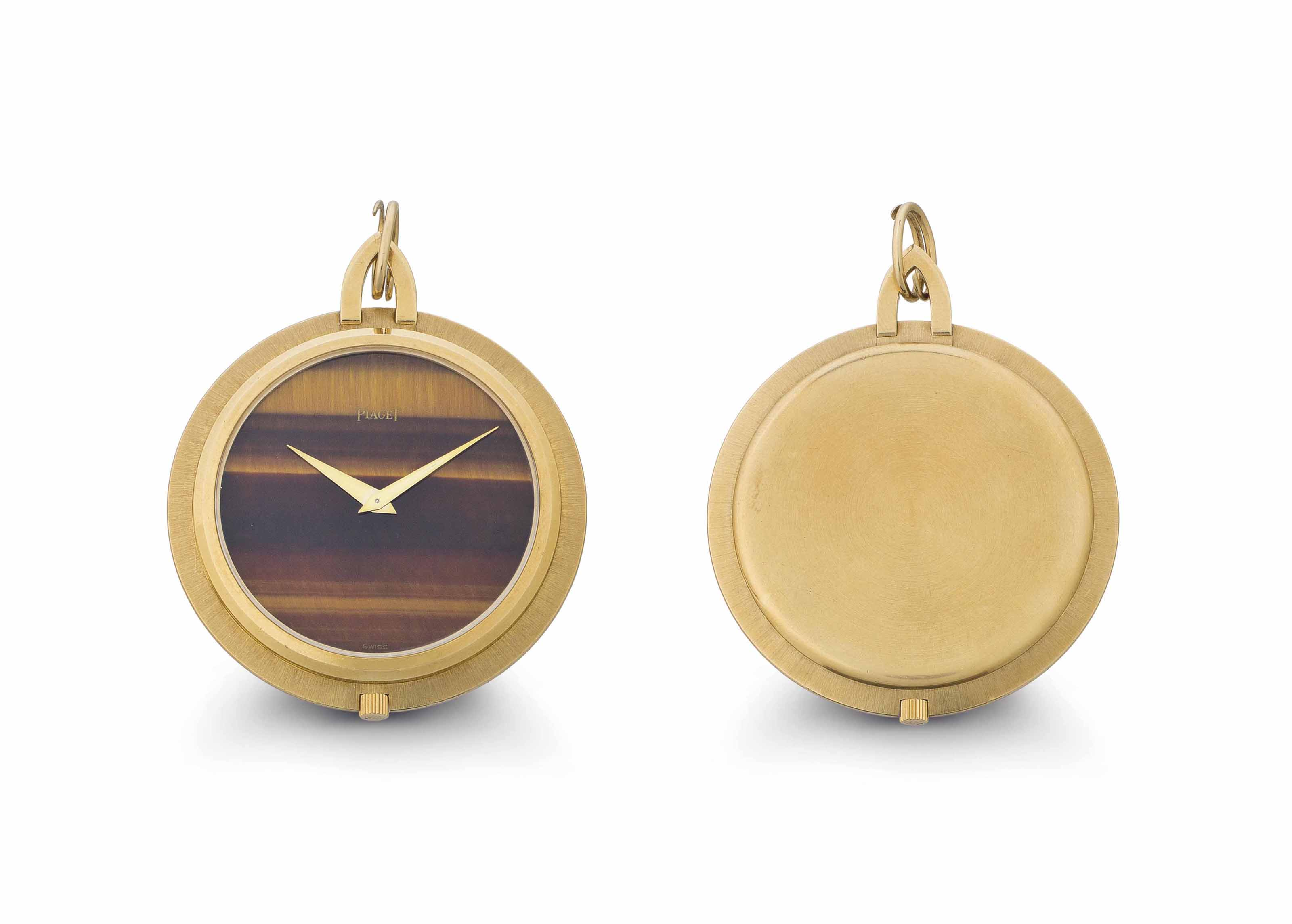 Piaget. An 18k Gold and Tiger's Eye Openface Keyless Lever Dress Watch