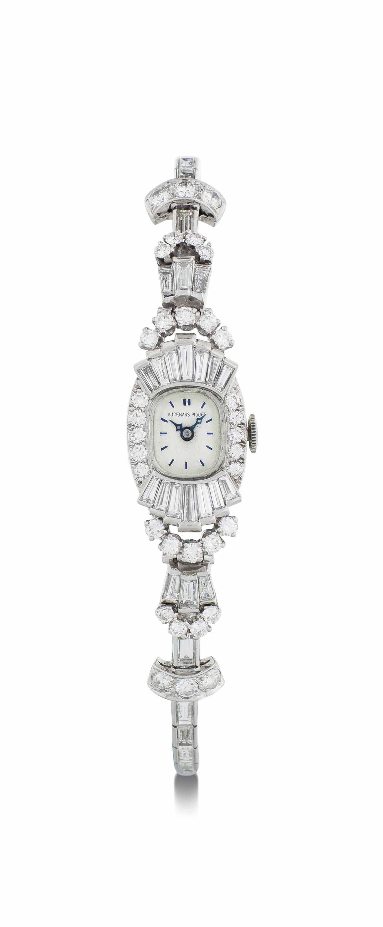 Audemars Piguet. A Lady's Platinum and Diamond-Set Bracelet Watch with American Case
