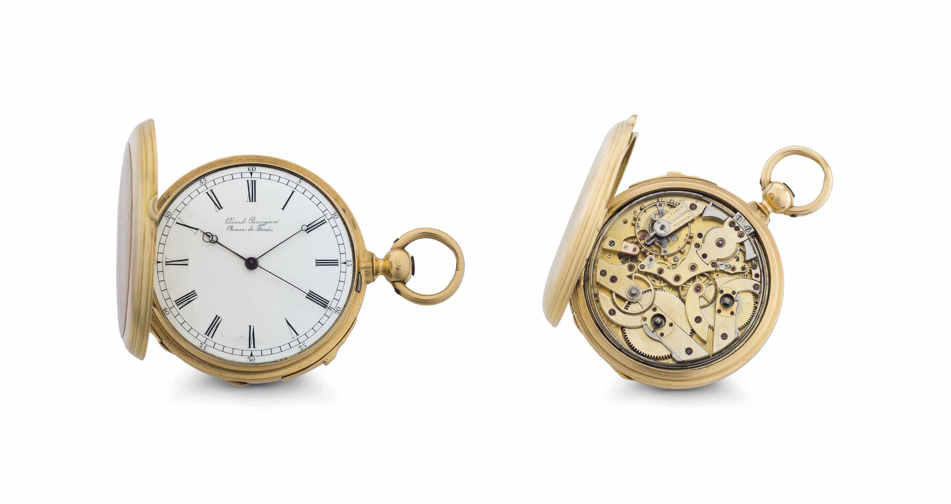 Girard Perregaux.  An 18k Gold Two-Train Quarter Repeating Hunter Case Keyless Lever Pocket Watch with Dead Independent Seconds