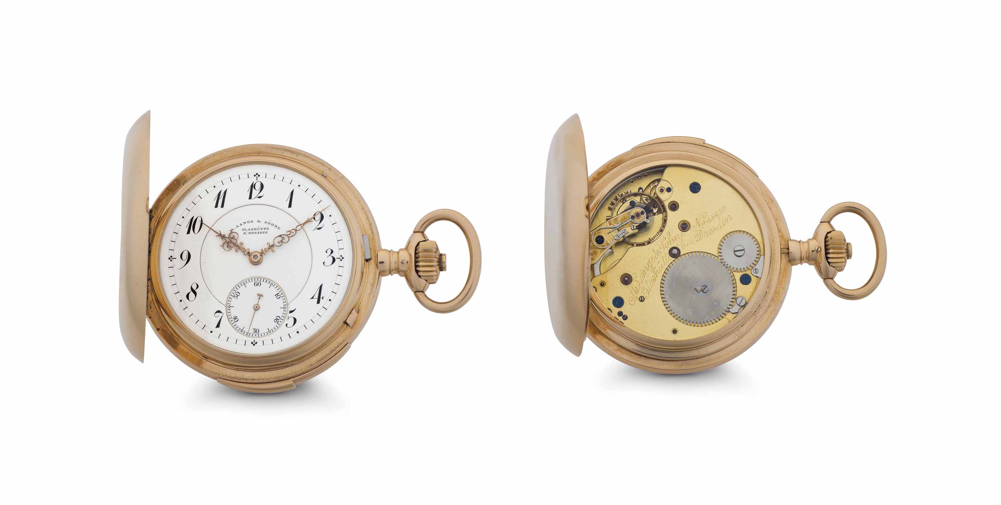 A. Lange & Söhne. An 18k Pink Gold Hunter Case Minute Repeating Keyless Lever Pocket Watch
