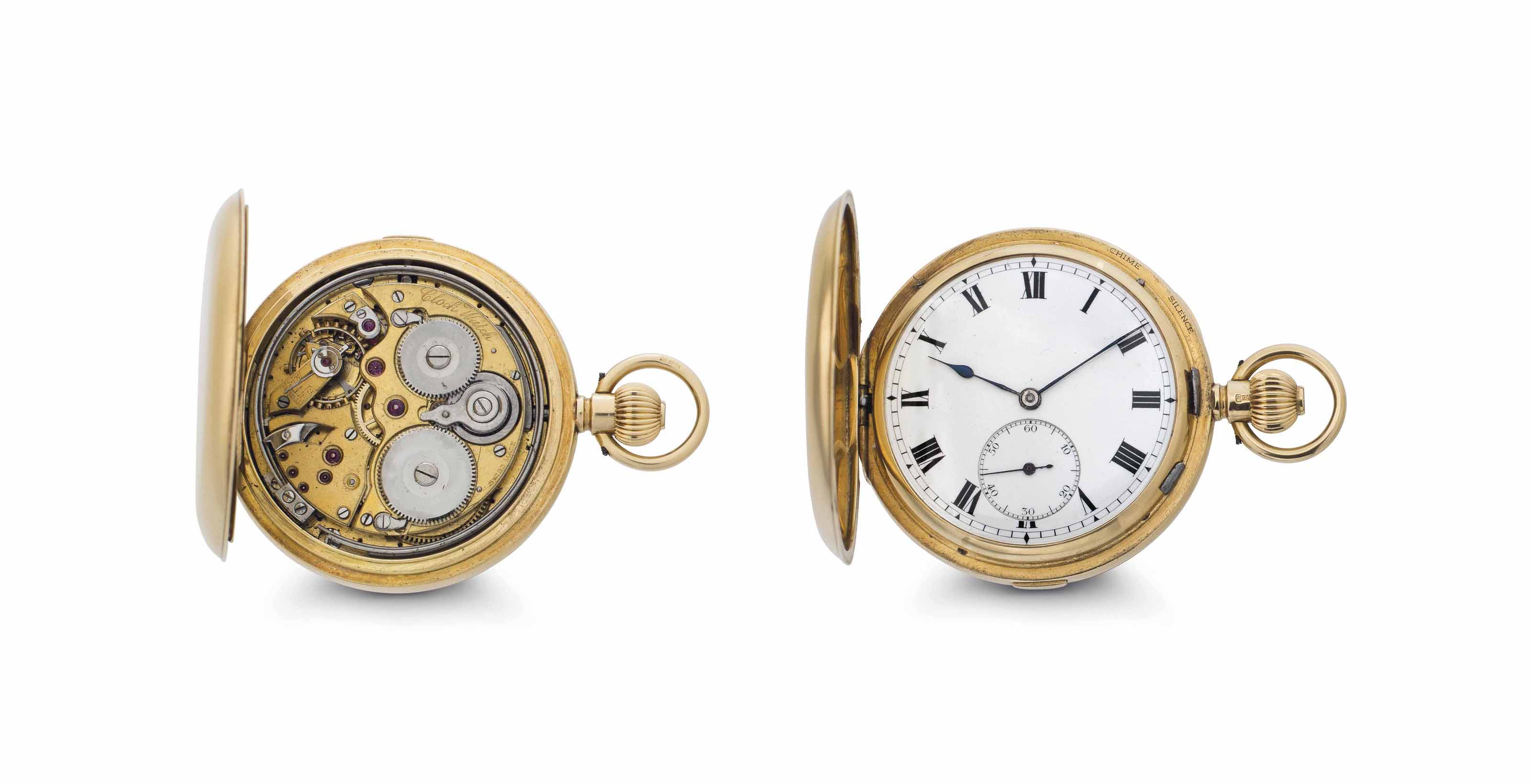 English.  An 18K Gold Hunter Case Two-Train Carillon Minute Repeating Grande Sonnerie Keyless Lever Clock Watch