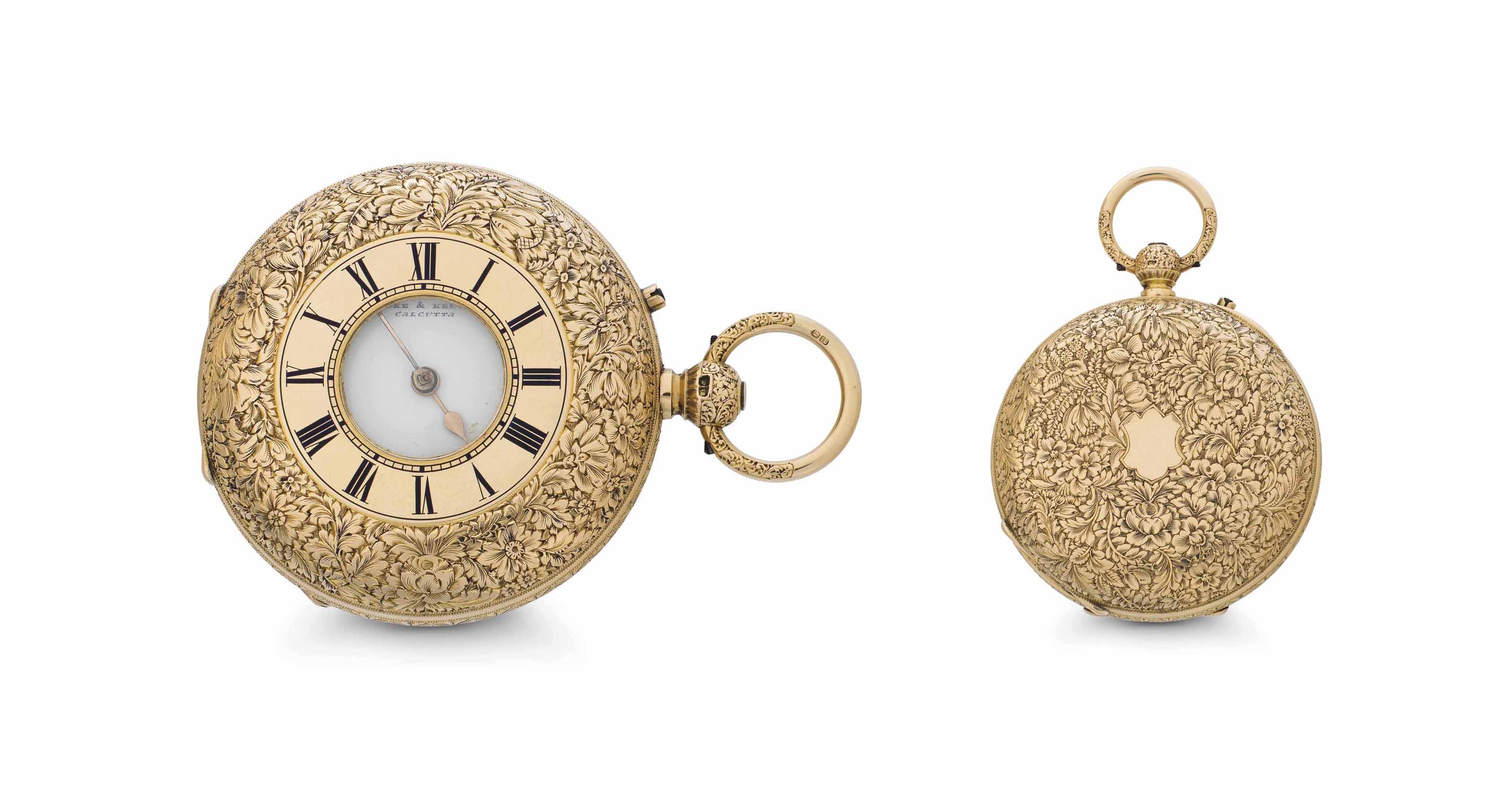 Cooke & Kelvey.  A Fine and Rare 18k Gold Key Wound Half-Hunter Case Striking Clock Watch