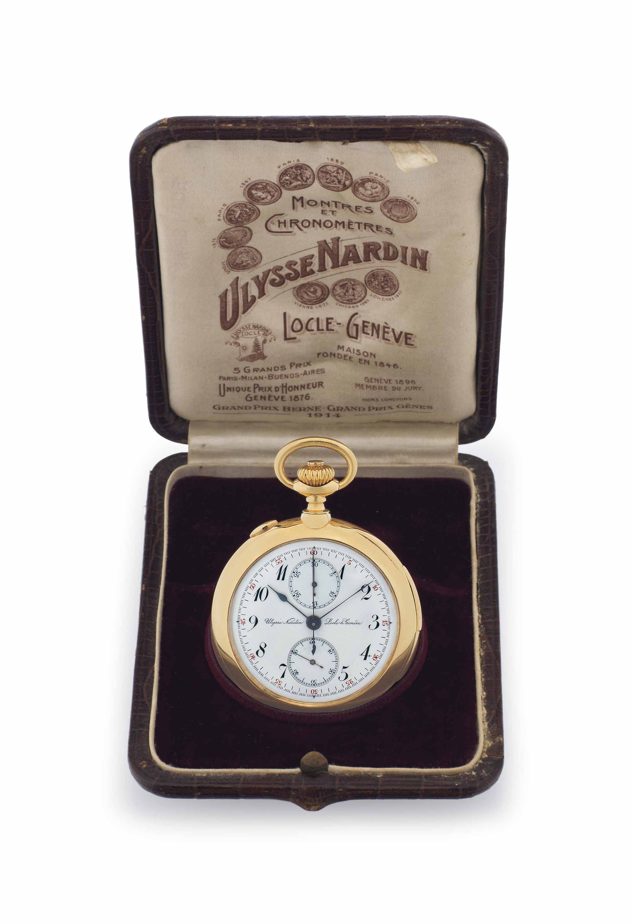 Ulysse Nardin. A Fine 18k Gold Openface Minute Repeating Split-Seconds Chronograph Lever Pocket Watch with Presentation Box