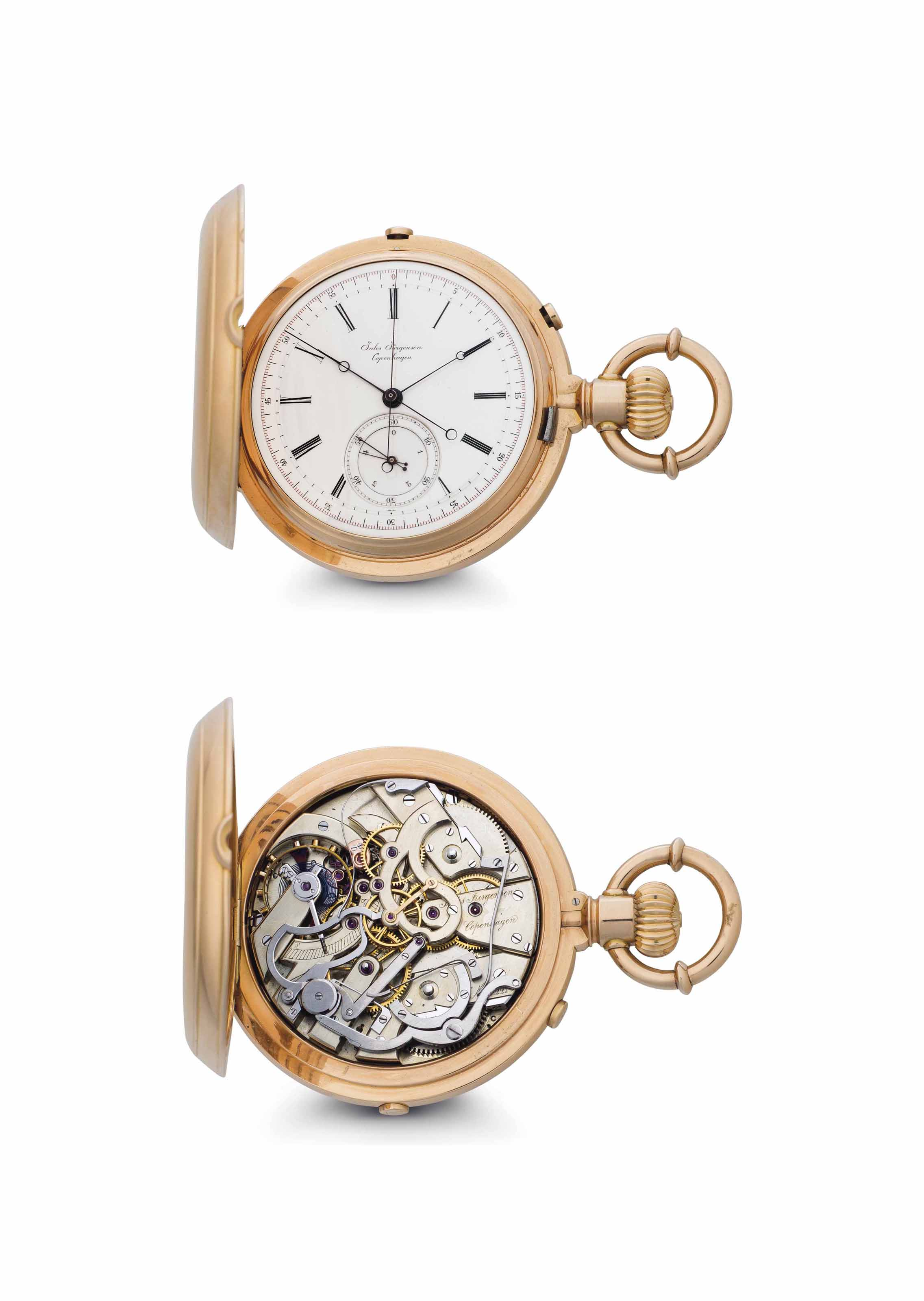 Jules Jürgensen. A Fine and Rare 18k Pink Gold Hunter Case Two-Train Keyless Lever Split-Seconds Chronograph Watch with Jump Fifth Seconds