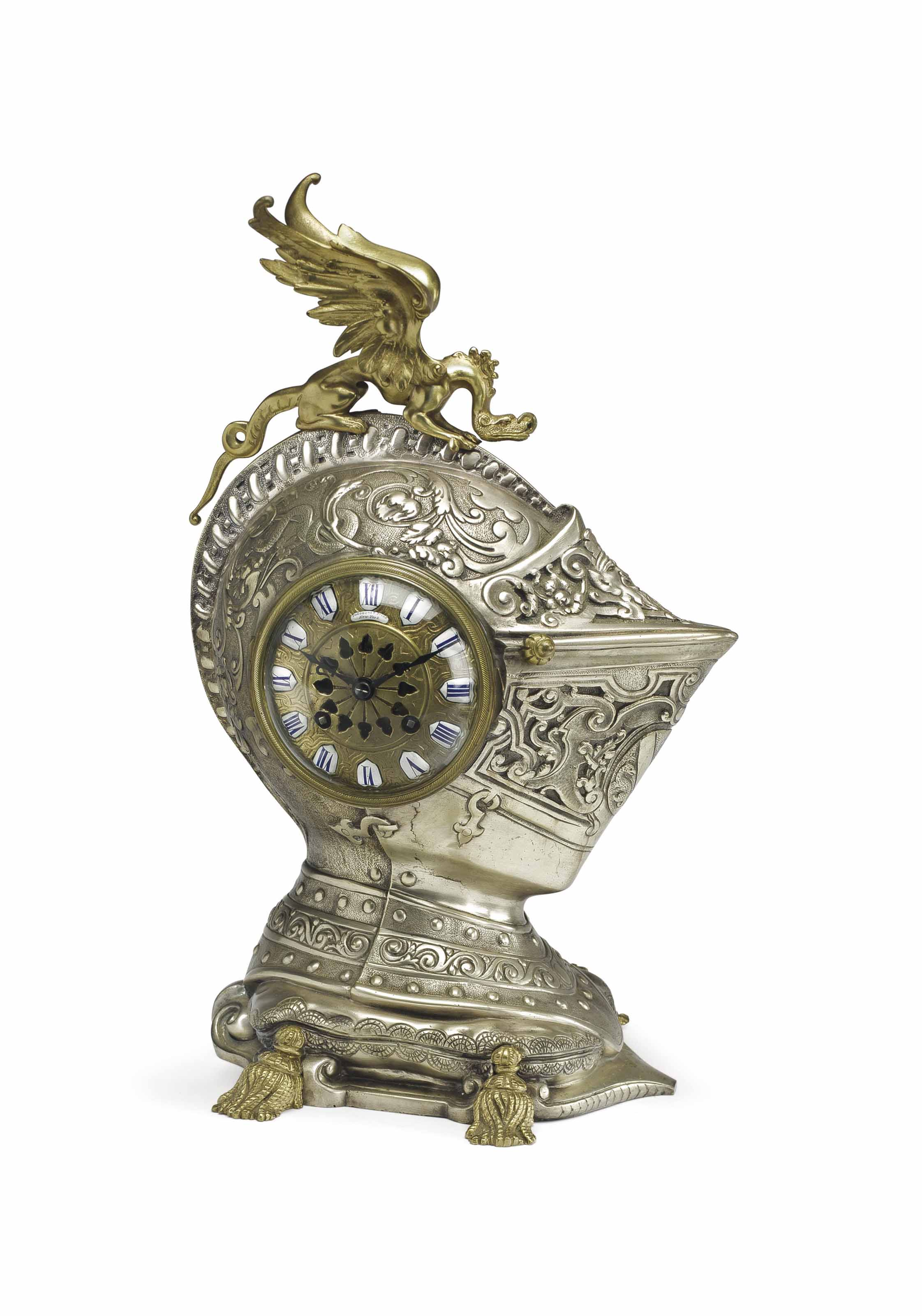Japy Freres. A Silver-Plated Brass Striking Mantle Clock in the Form of a Knights Helmut